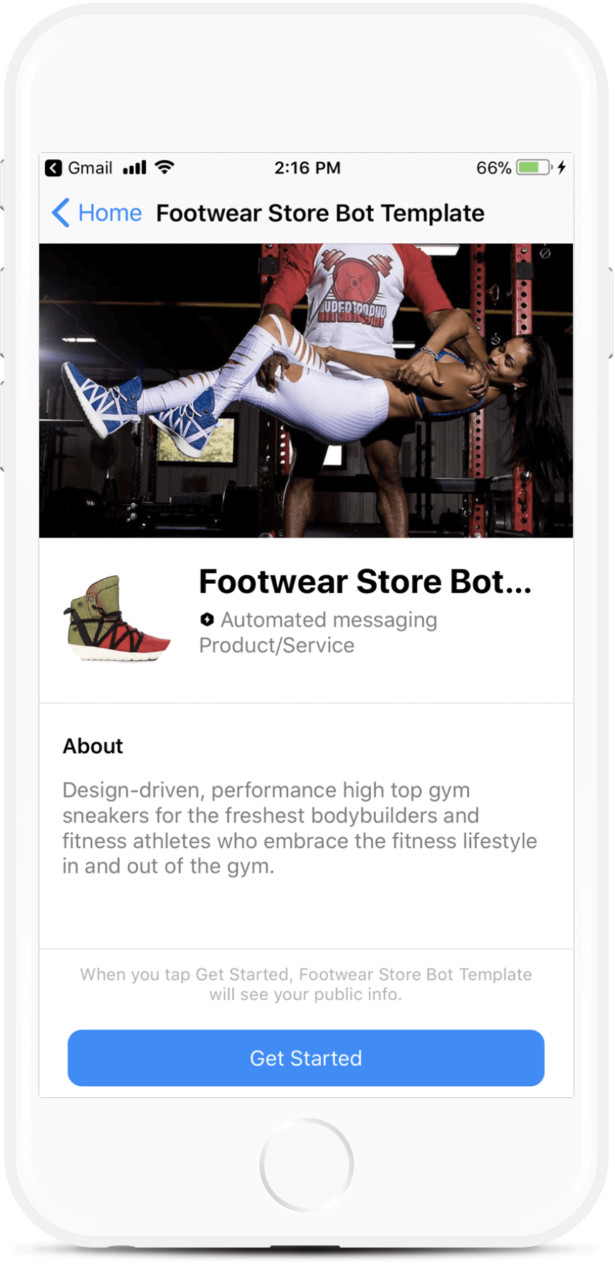 Footwear Store Bot Template bot screenshot