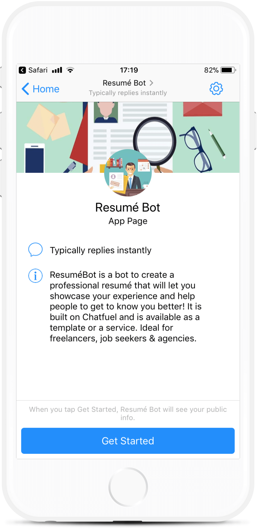 Resume Chatbot Template for Chatfuel for $199 - BotMakers