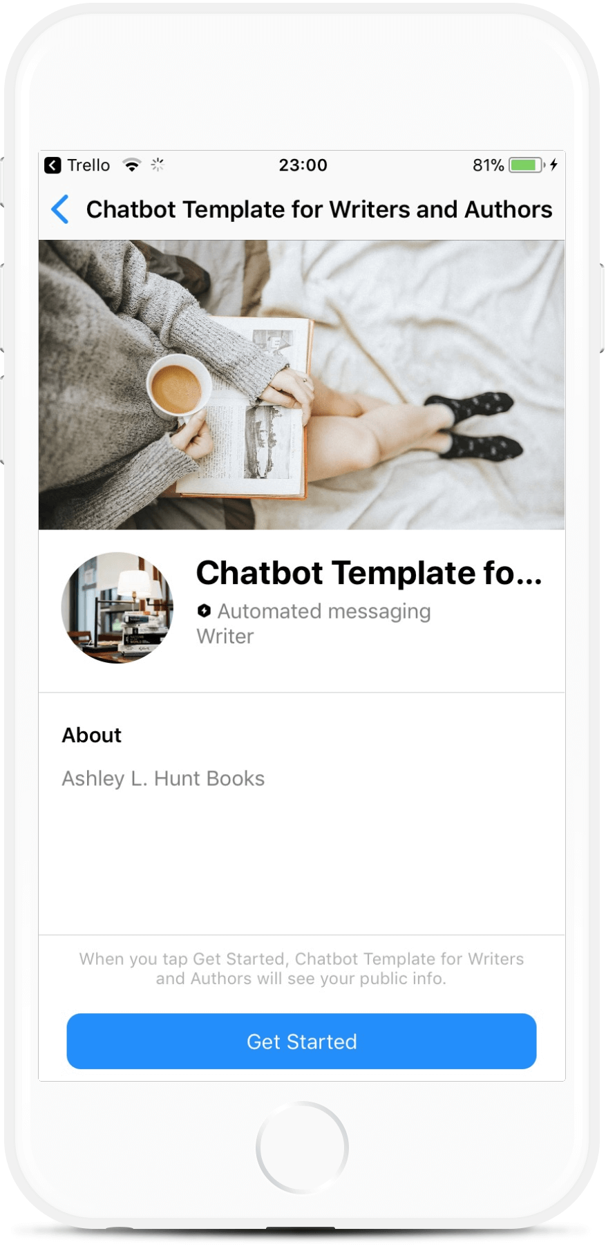 E-Commerce Bot Template for Writers and Authors bot screenshot