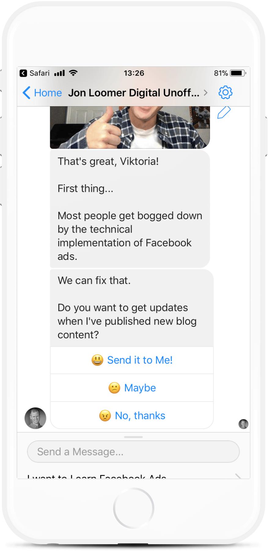 Facebook Marketing Coach Bot Template bot screenshot