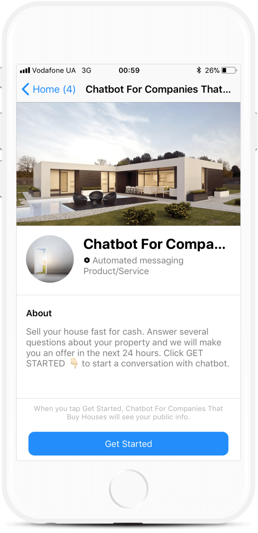 Chatbot For Companies That Buy Houses bot screenshot
