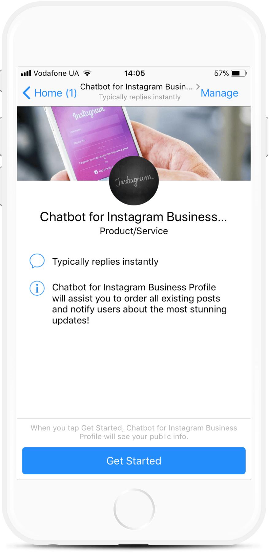 Chatbot for Instagram Business Profile bot screenshot