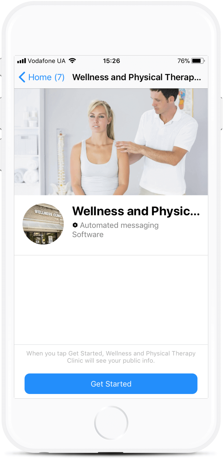 Wellness and Physical Therapy Clinic bot screenshot
