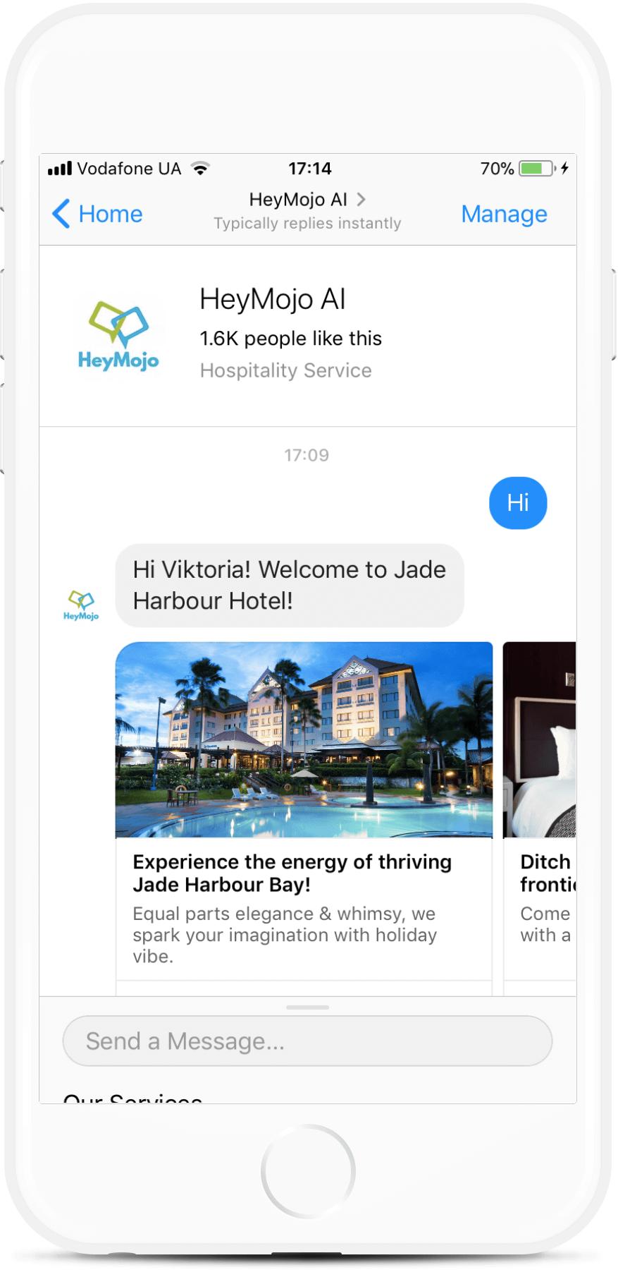 HeyMojo Hotel Chatbot - Booking, Reviews, FAQs. bot screenshot
