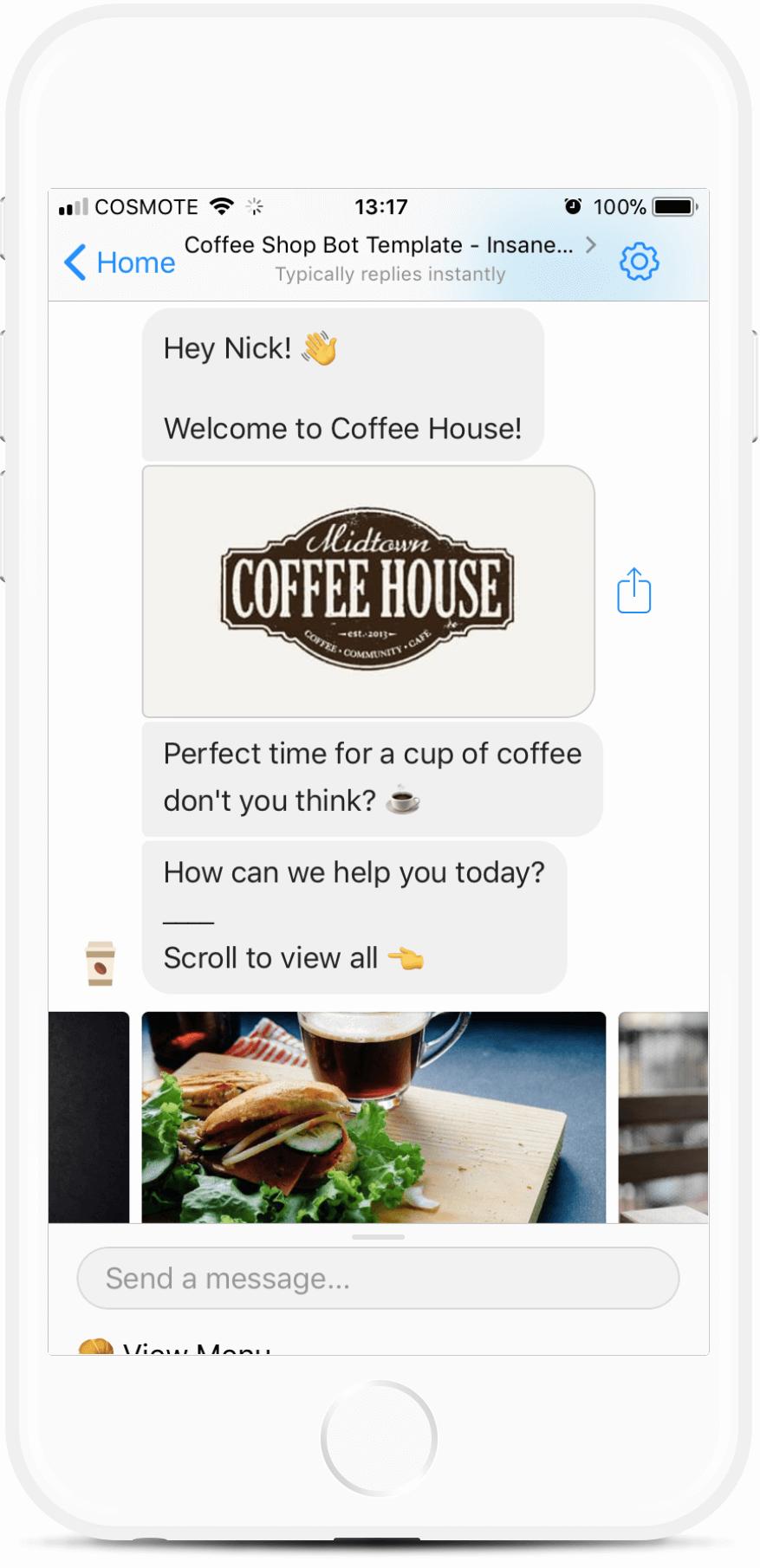 Coffee Shop Bot Template bot screenshot