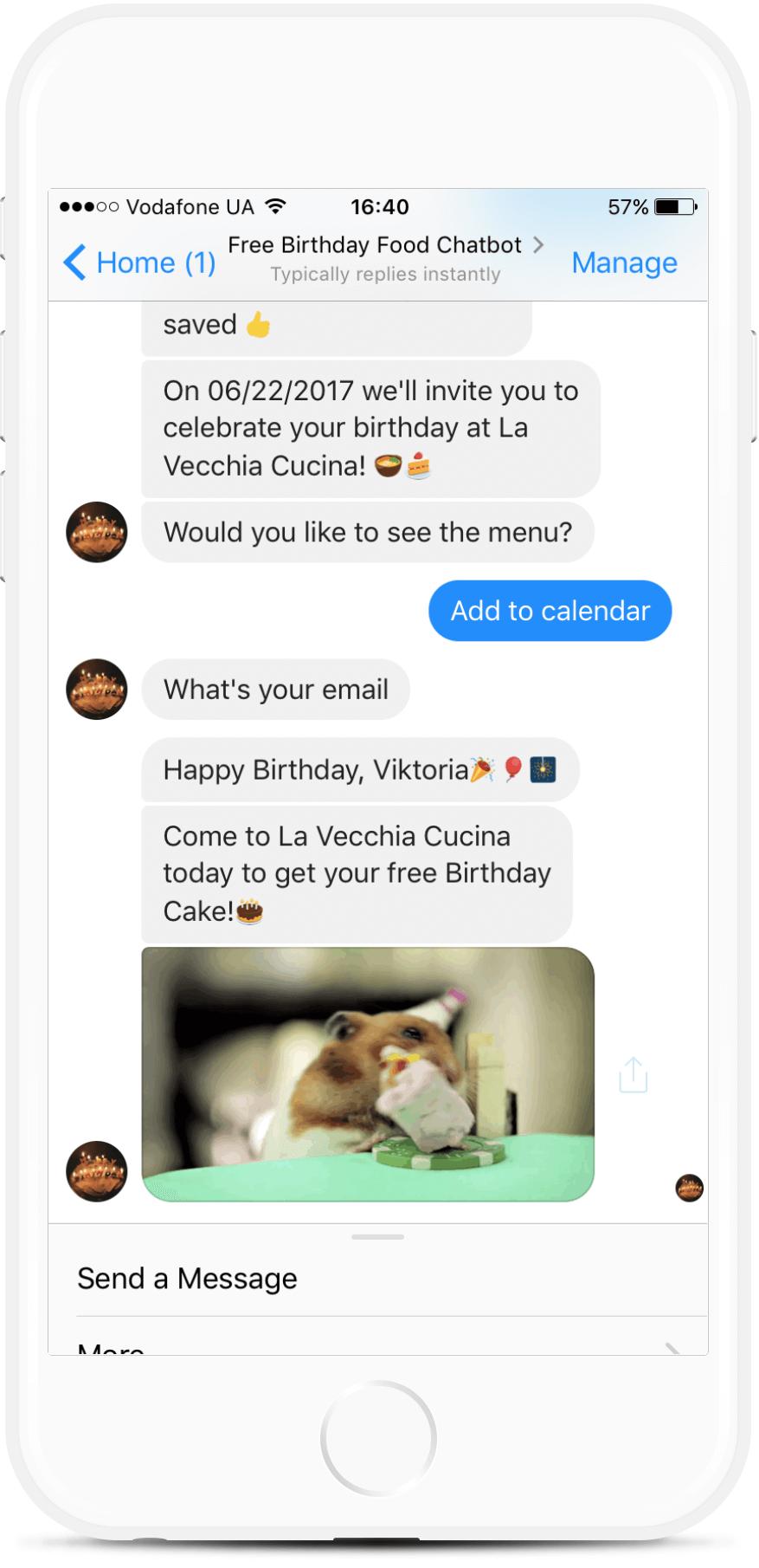 Free Birthday Food bot screenshot
