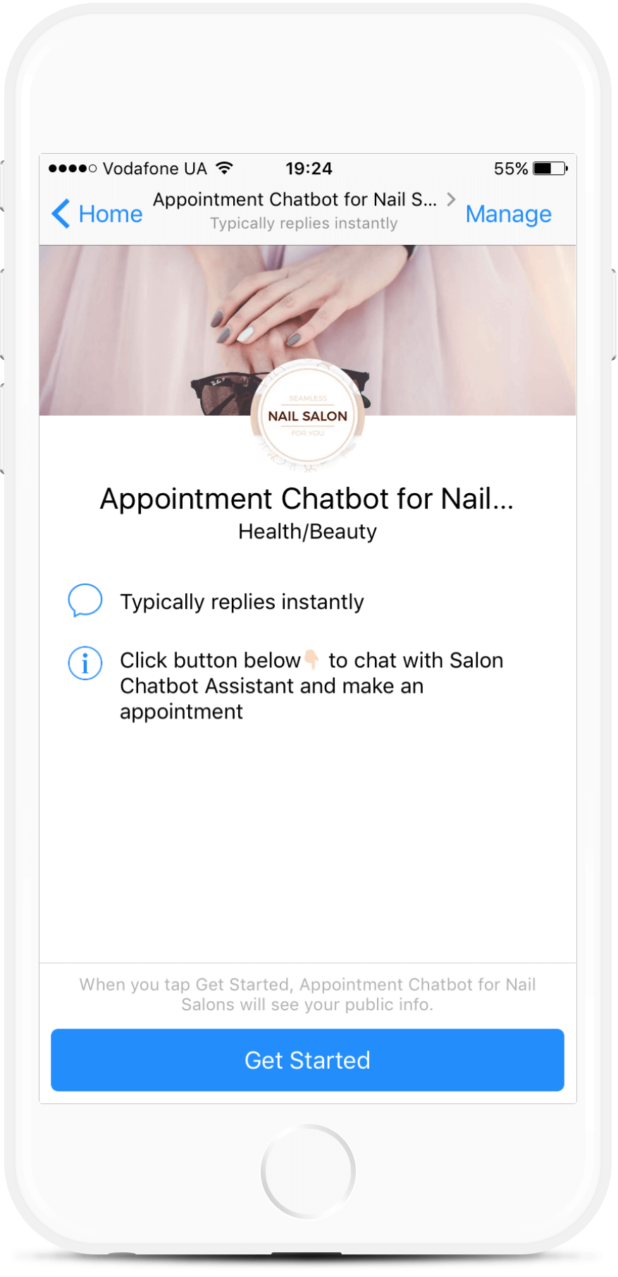 Appointment Chatbot for Nail Salons bot screenshot