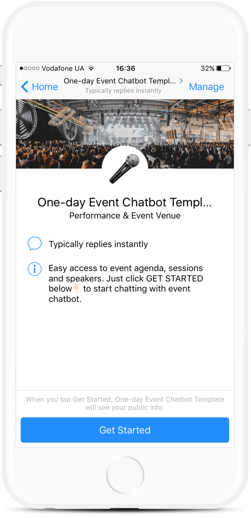 One-day Event Chatbot Template bot screenshot