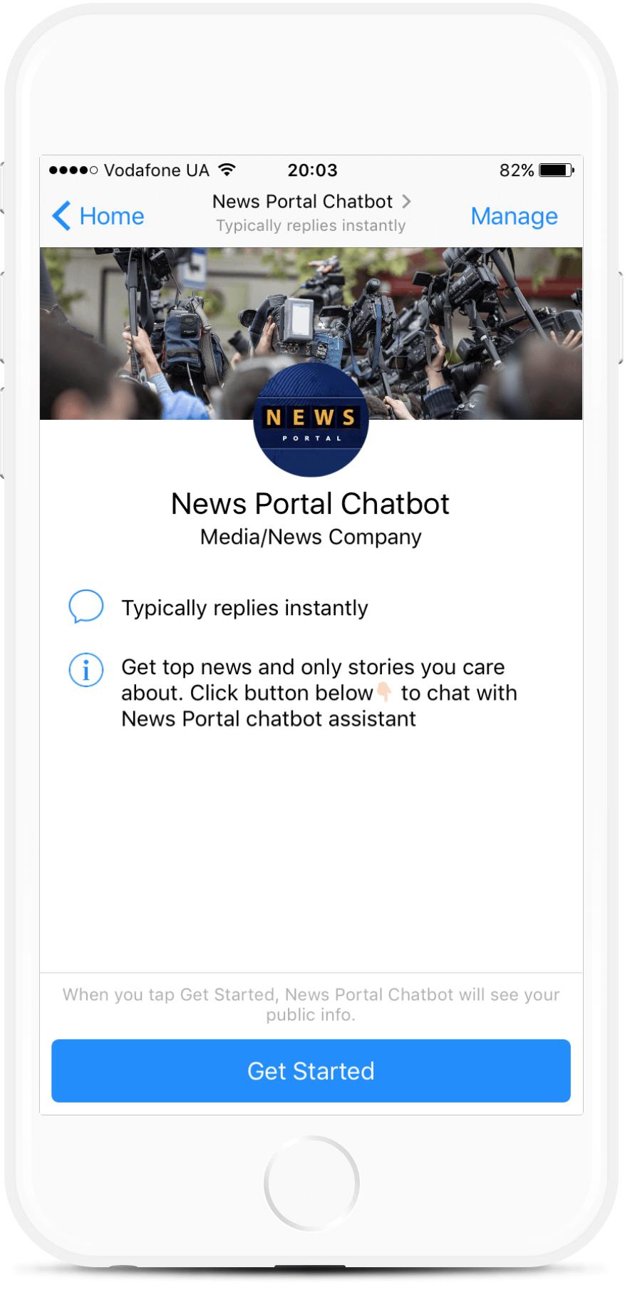 News Portal Chatbot bot screenshot
