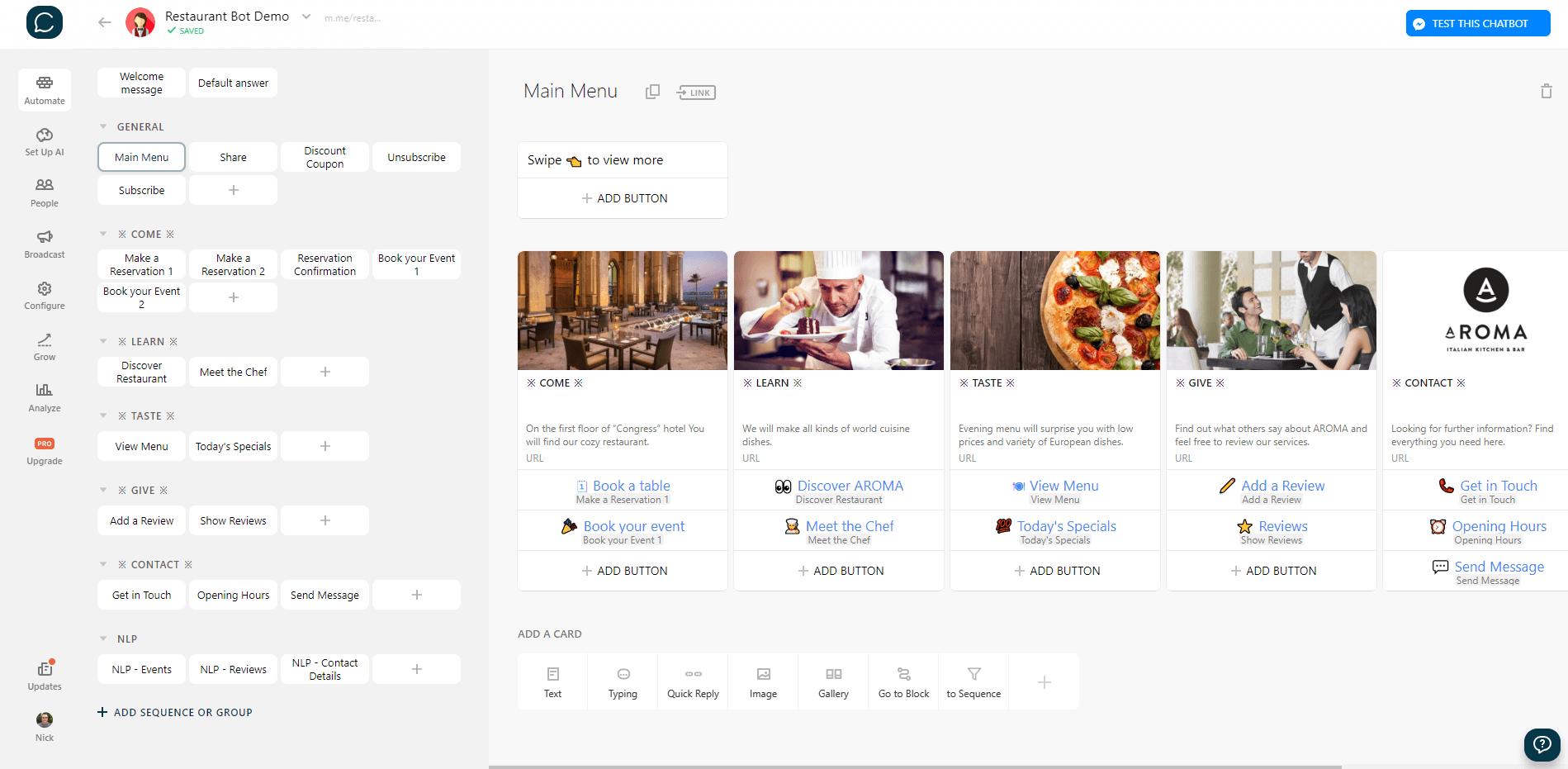 Chatfuel flow editor screenshot for Restaurant Reviews Bot for Messenger