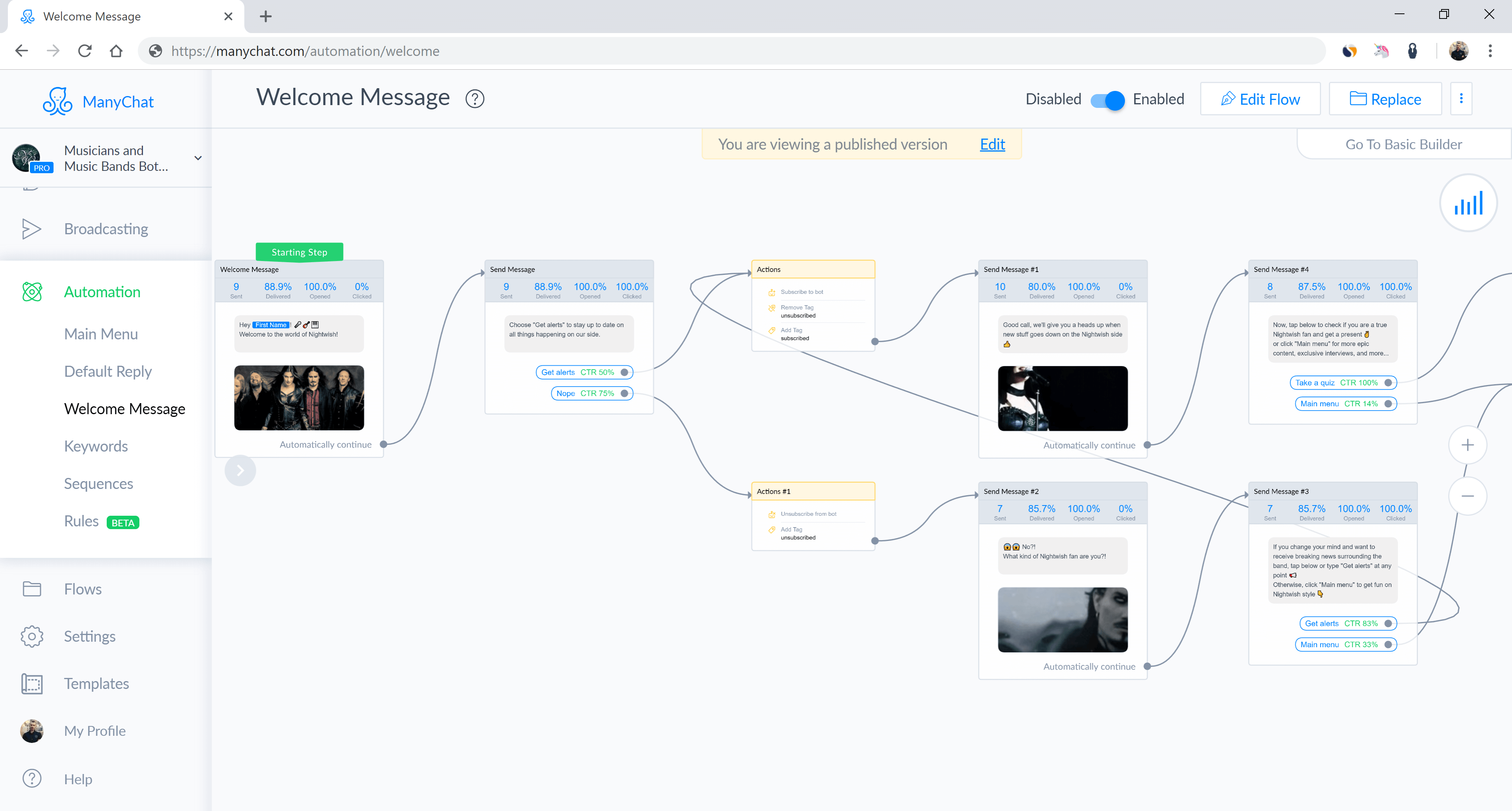 ManyChat flow editor screenshot for Music Band Chatbot for Messenger