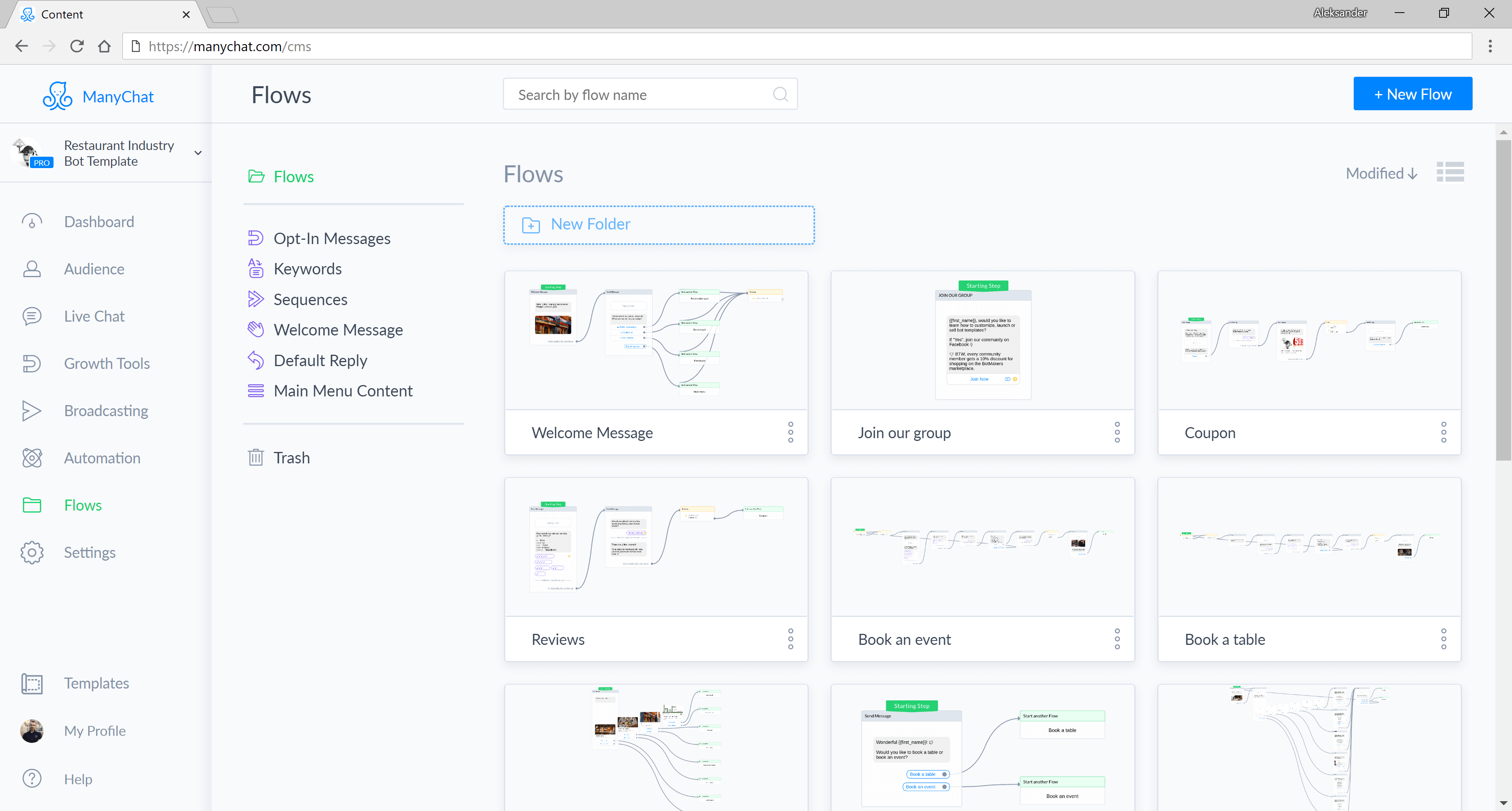 Chatfuel and ManyChat flow editor screenshot for Restaurant Industry Bot for Messenger