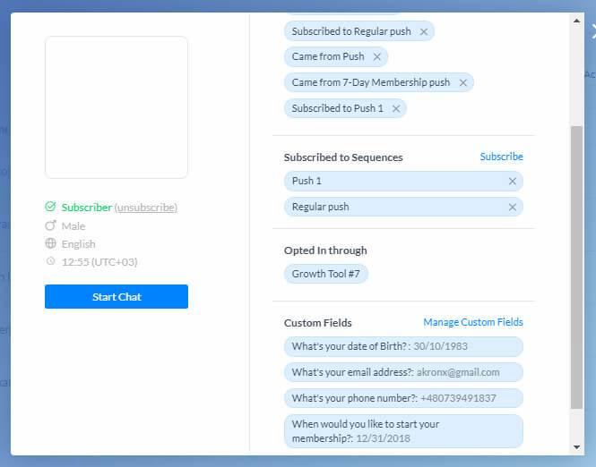 ManyChat flow editor screenshot for Gym and Fitness Club Bot for Messenger (ManyChat)