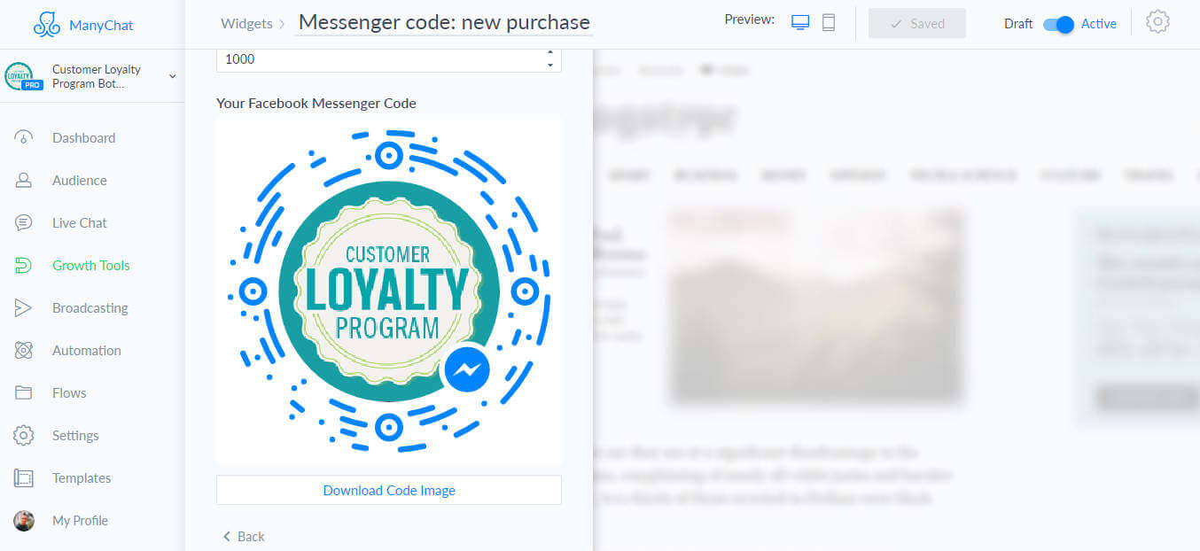 ManyChat flow editor screenshot for Loyalty Program Chatbot Template for Messenger