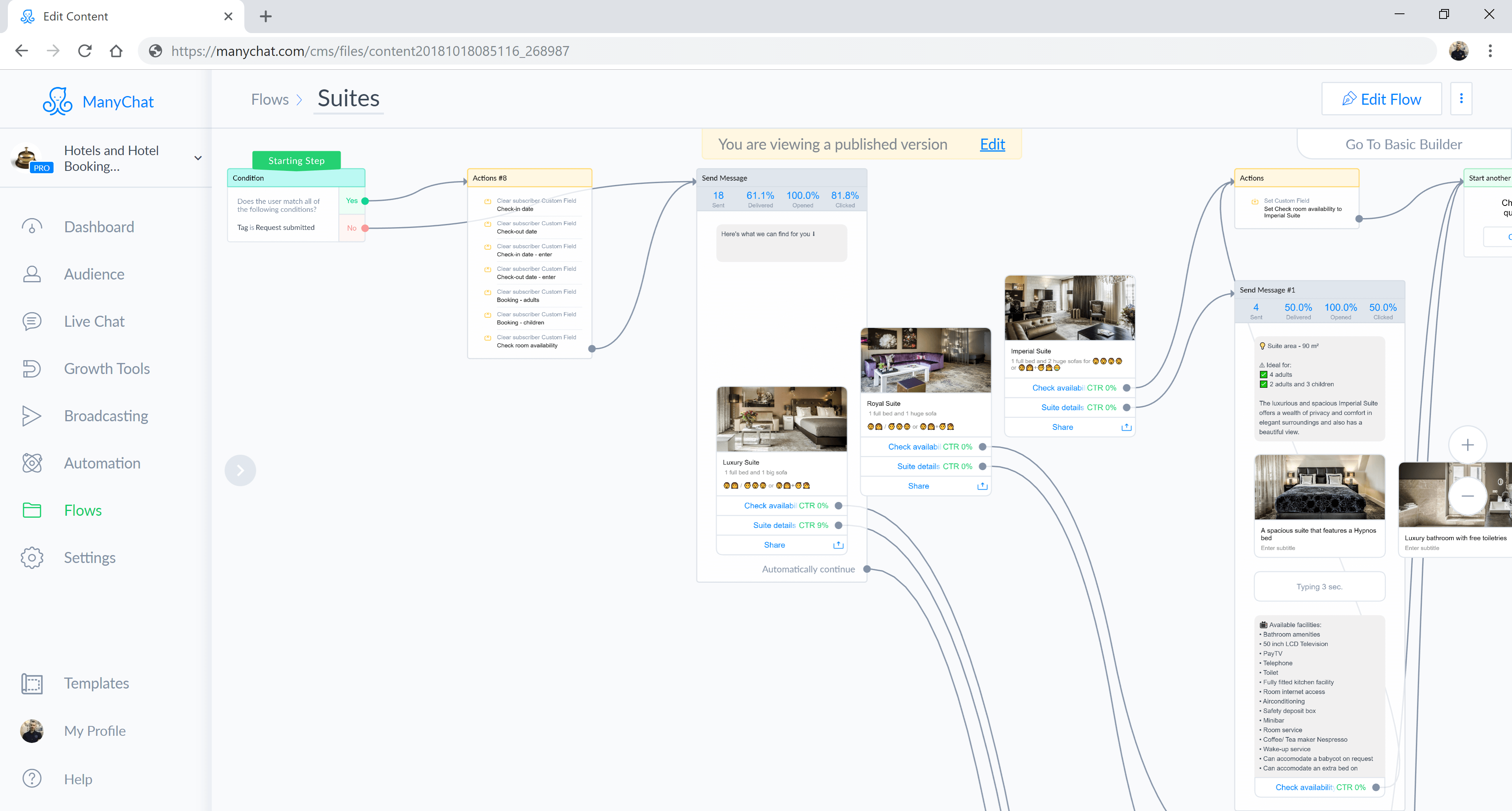 ManyChat flow editor screenshot for Hotel Booking Messenger Bot for Hotels