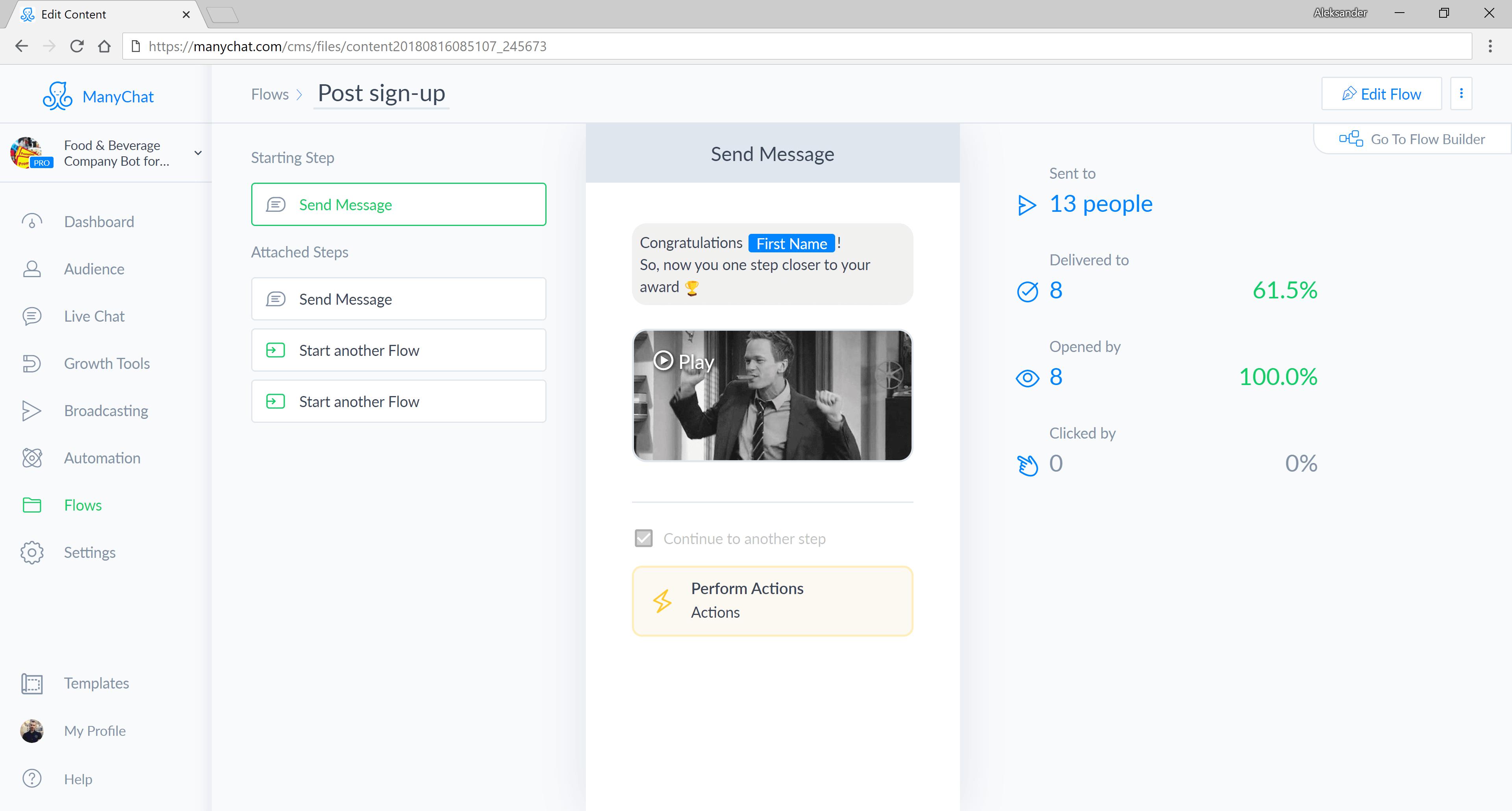 ManyChat flow editor screenshot for Food & Beverage Company Bot for Messenger