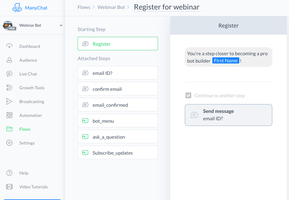 ManyChat flow editor screenshot for Webinar Registrations Bot Template