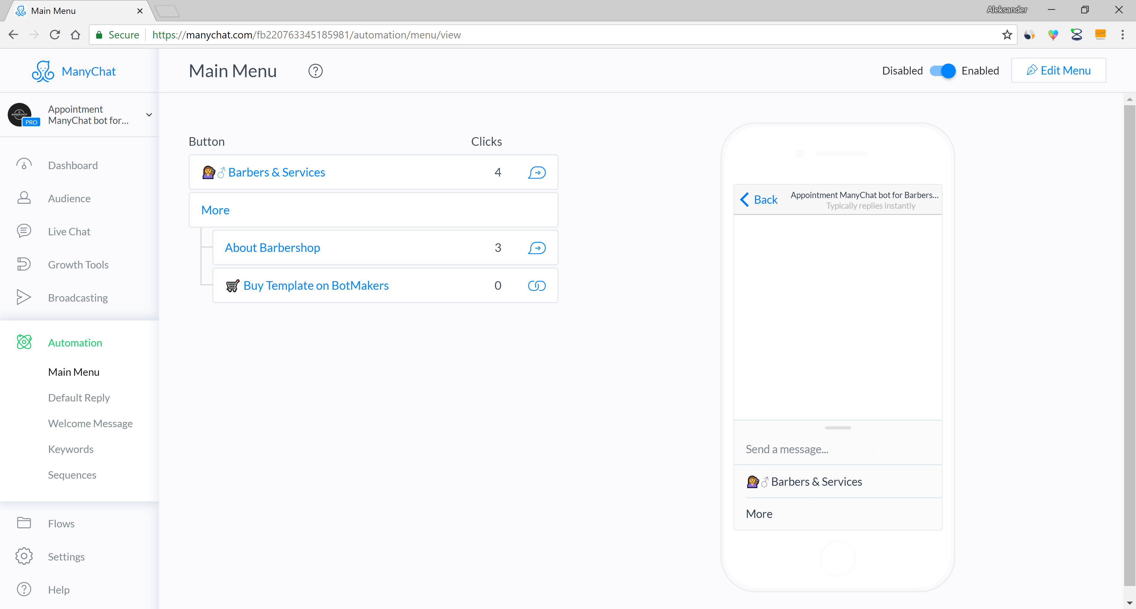Chatfuel and ManyChat flow editor screenshot for Appointment Messenger Chatbot for Barbershops