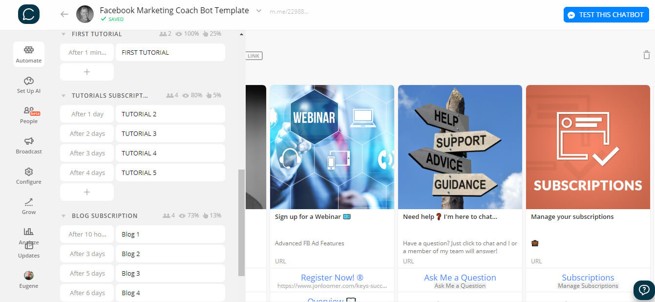 Chatfuel and ManyChat flow editor screenshot for Facebook Marketing Coach Bot Template