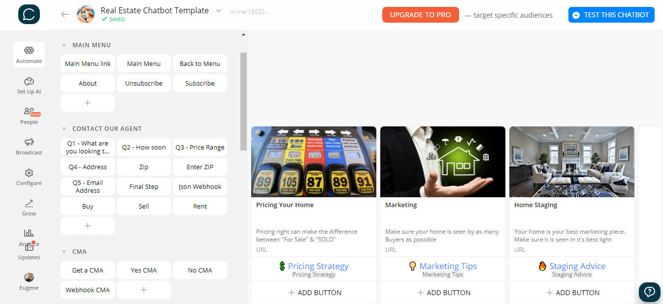 Chatfuel and ManyChat flow editor screenshot for Lead Nurturing Messenger Chatbot for Realtors
