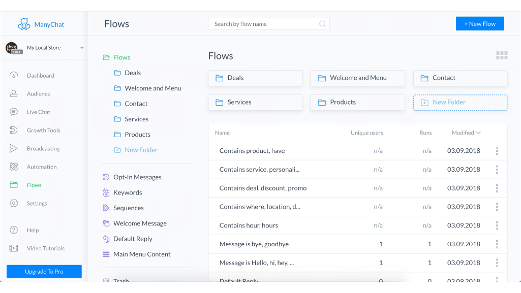 ManyChat flow editor screenshot for Brick and Mortar Local Business Template