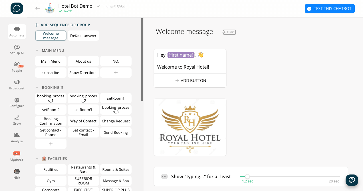 Chatfuel flow editor screenshot for Booking Bot Template for Hotels
