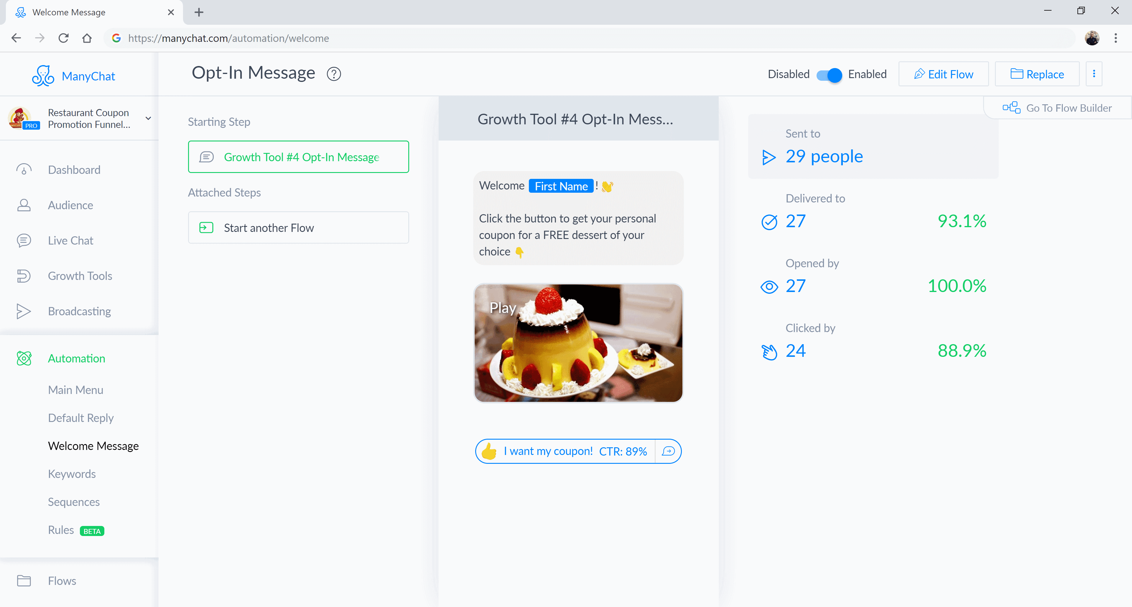 ManyChat flow editor screenshot for Restaurant Coupon Promotion Bot for Messenger