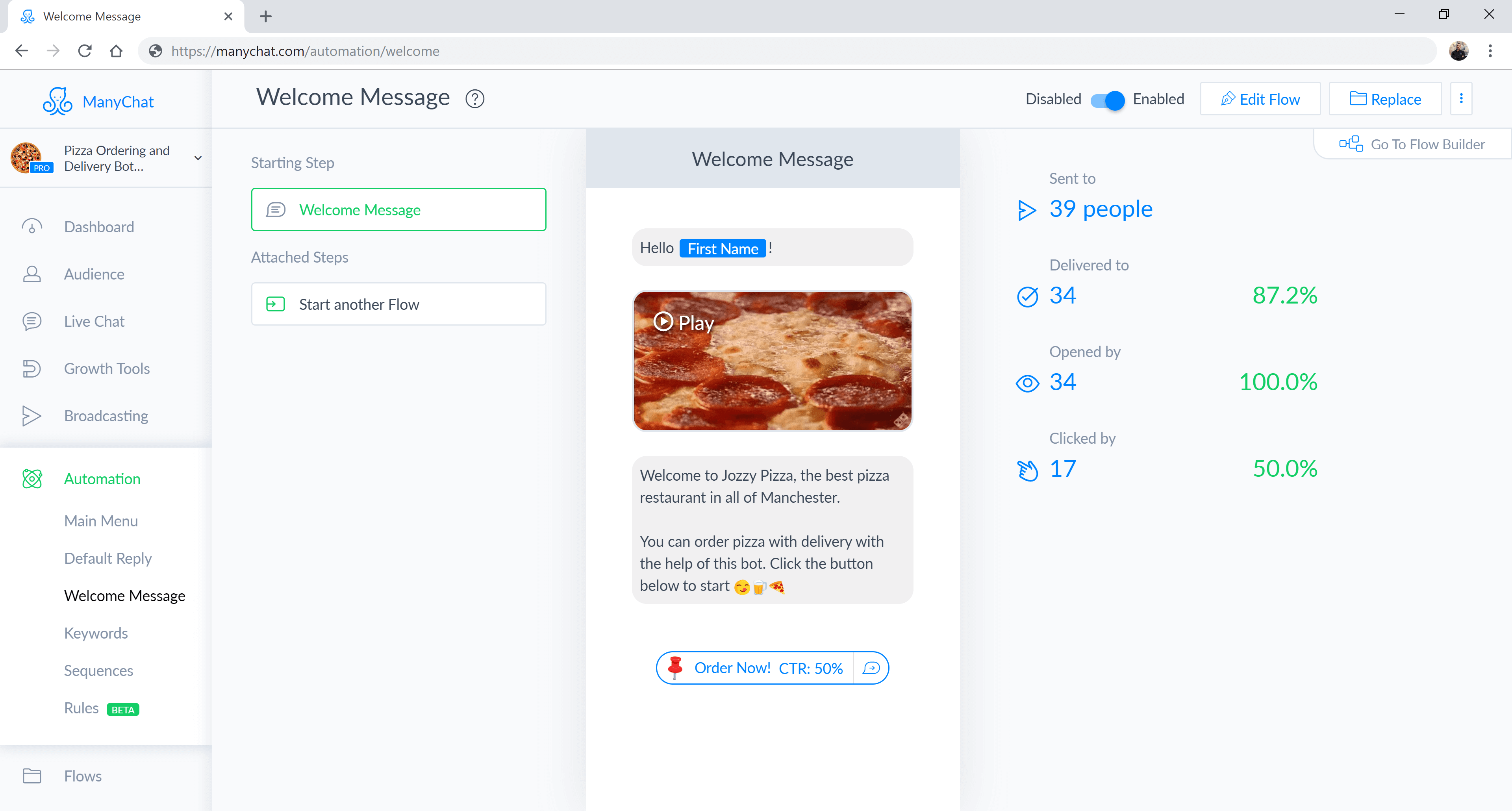 ManyChat flow editor screenshot for Pizza Delivery Chatbot for Facebook Messenger