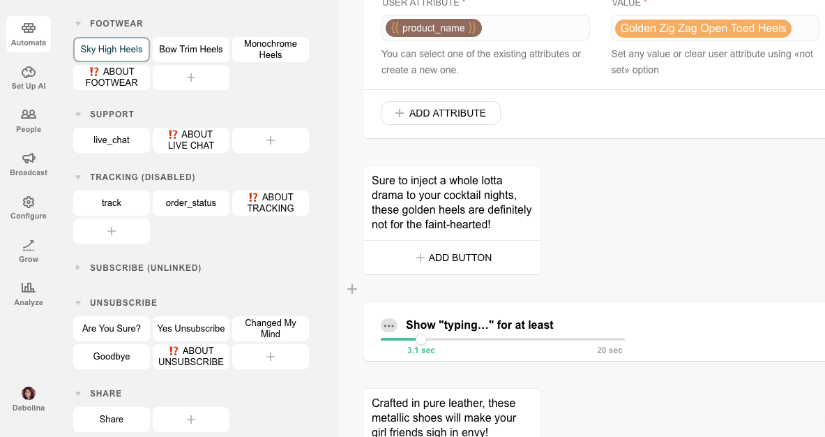 Chatfuel flow editor screenshot for eCommerce Bot for Online Fashion Stores