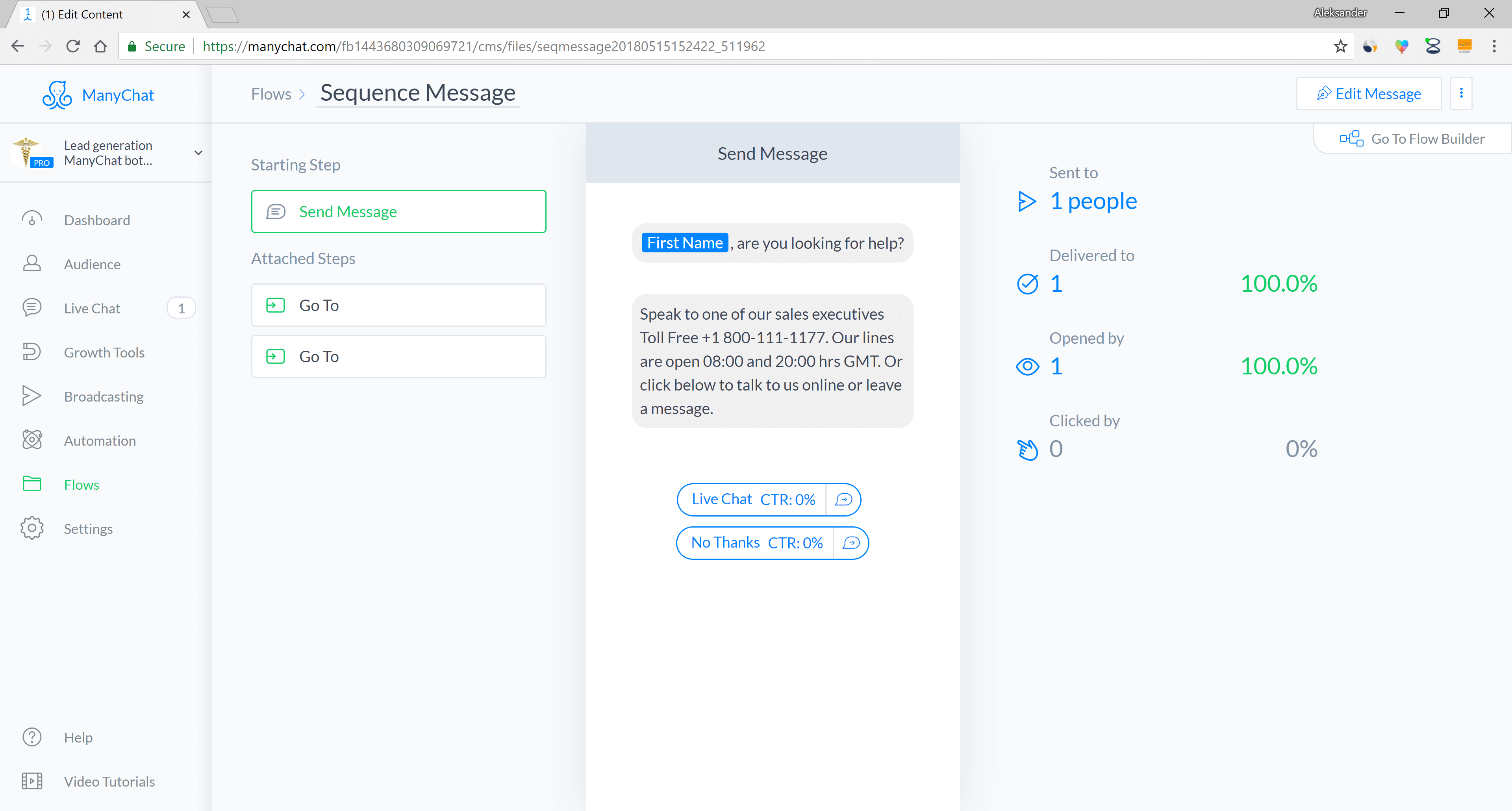 Chatfuel and ManyChat flow editor screenshot for Lead Generation Messenger Bot for Insurance Companies