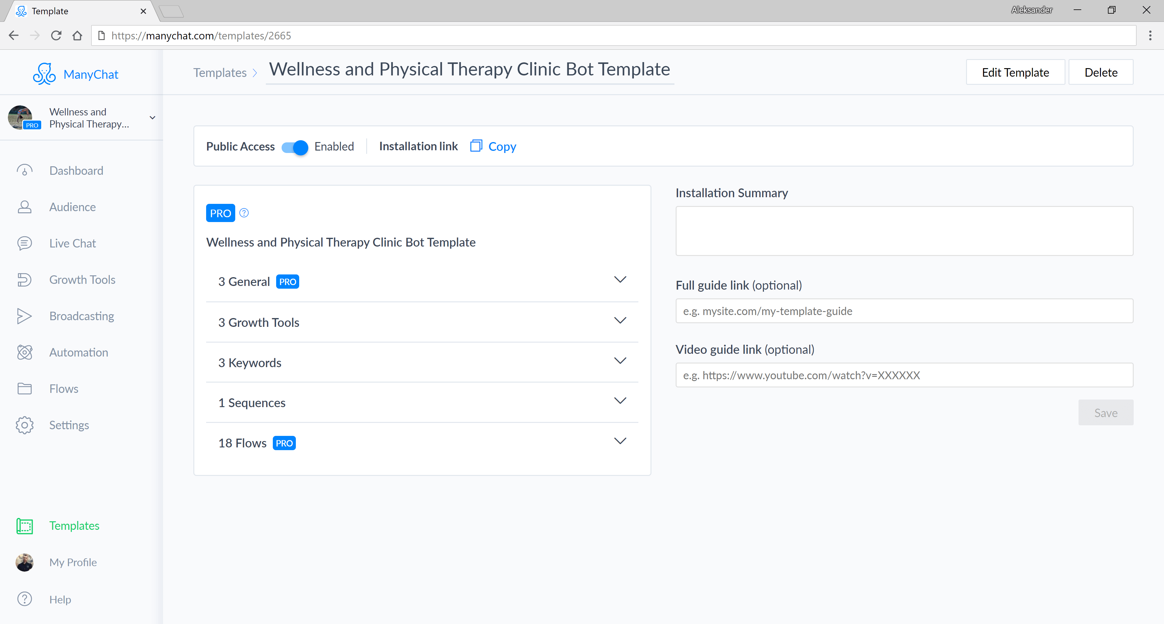 ManyChat flow editor screenshot for Appointment Bot for Wellness Services