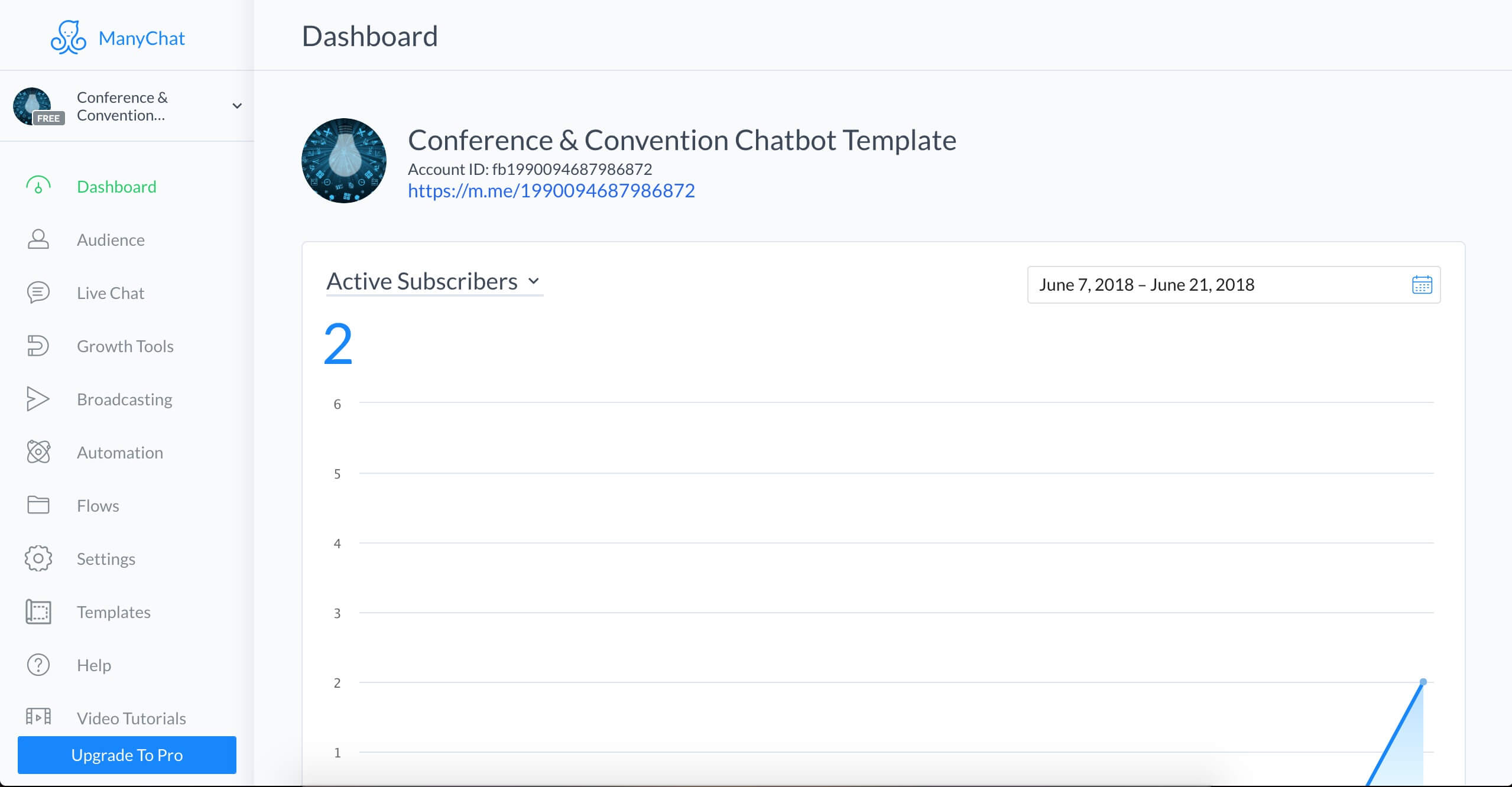 ManyChat flow editor screenshot for Conference Chatbot Template for Facebook Messenger