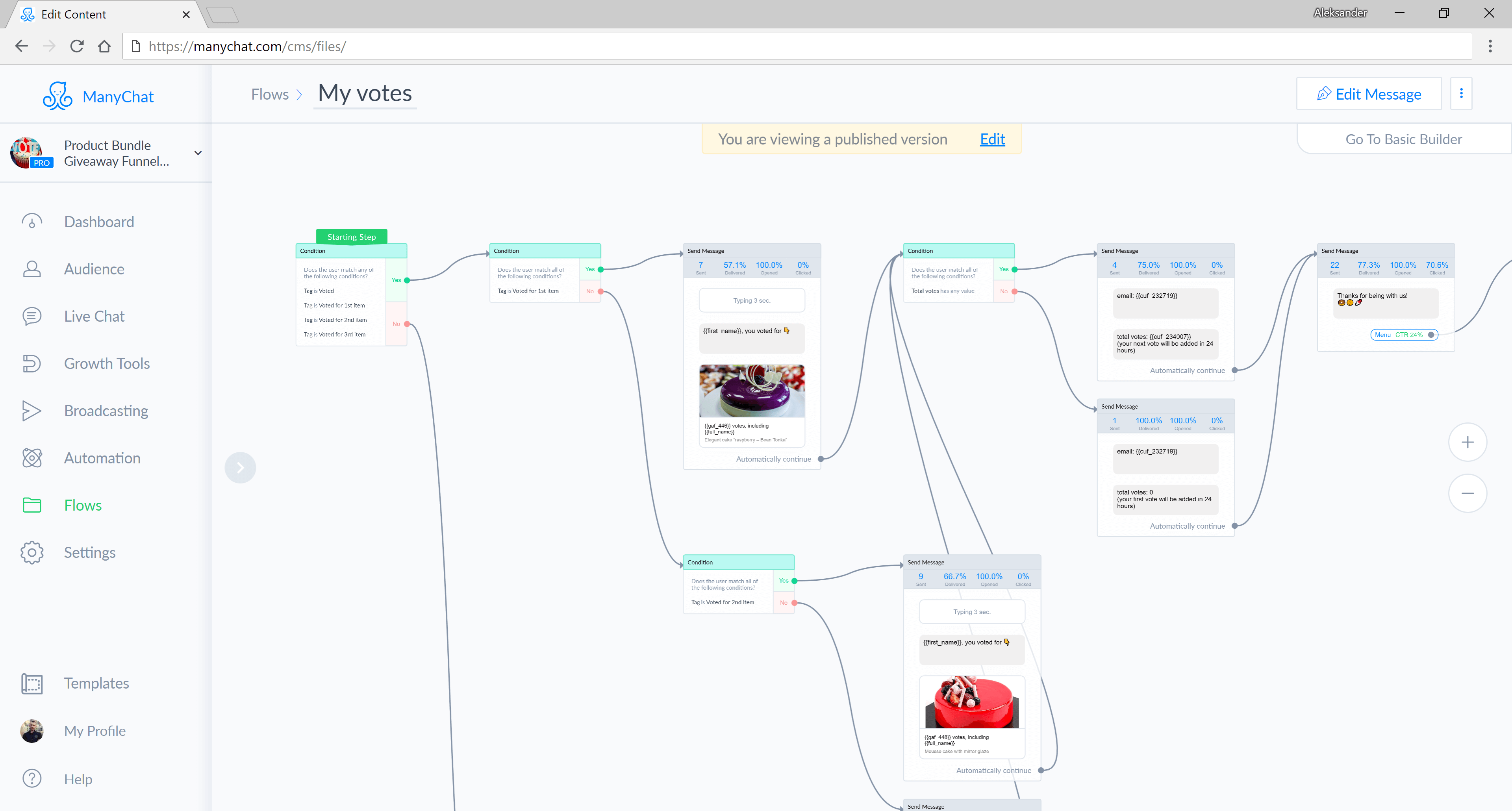 ManyChat flow editor screenshot for Manychat Giveaway Bot Template for Facebook Messenger