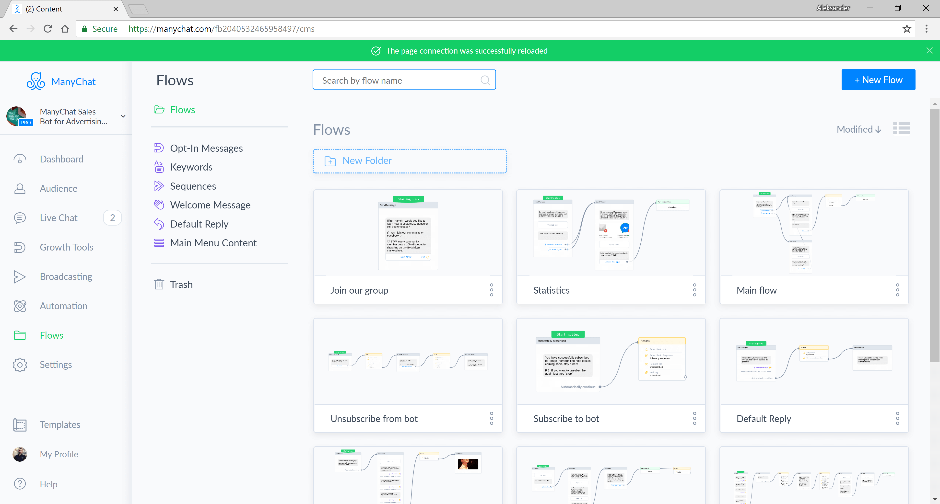 ManyChat flow editor screenshot for Messenger Marketing Agency Funnel for Messenger
