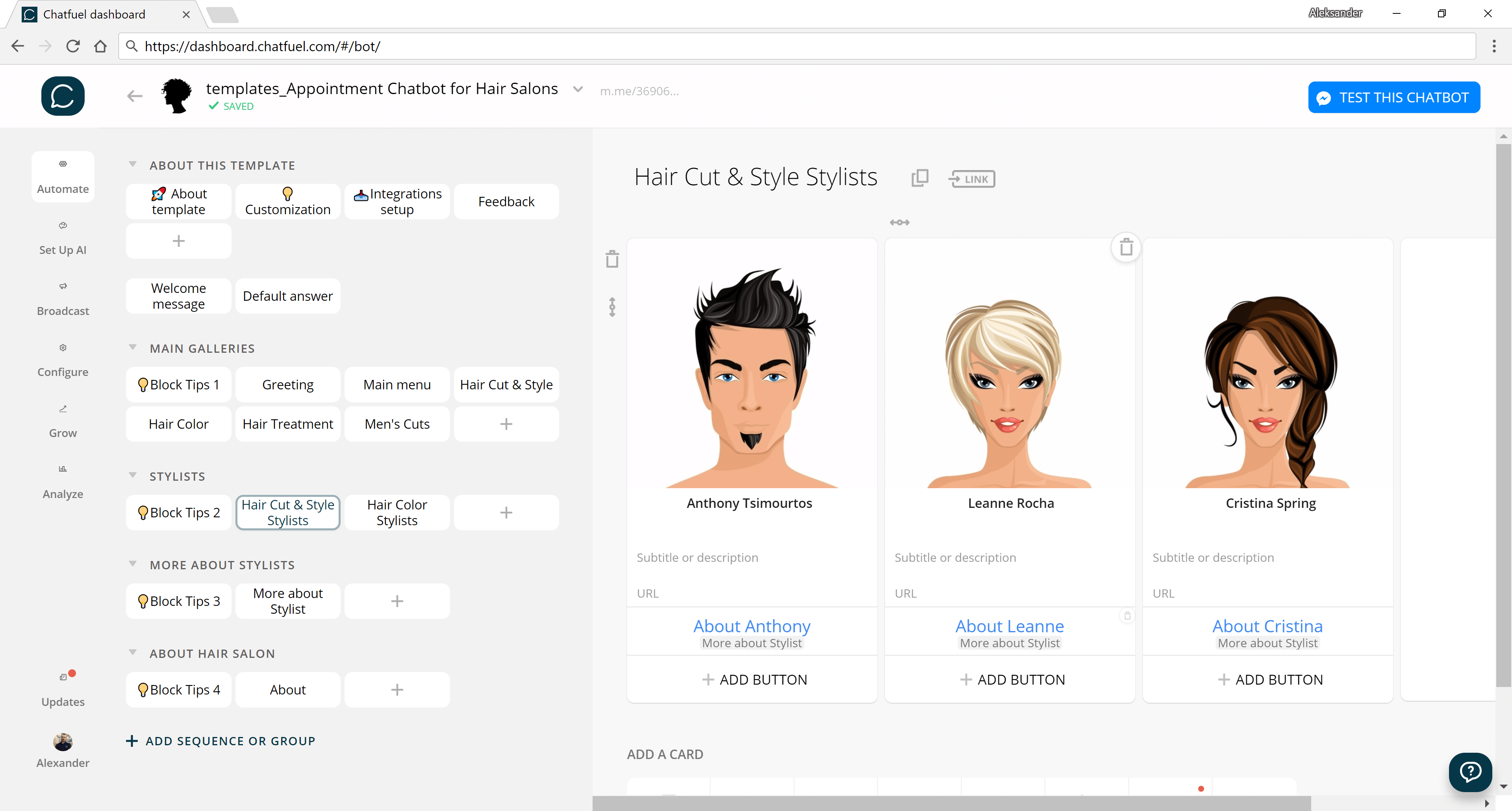 Chatfuel flow editor screenshot for Appointment Chatbot Template for Hair Salons