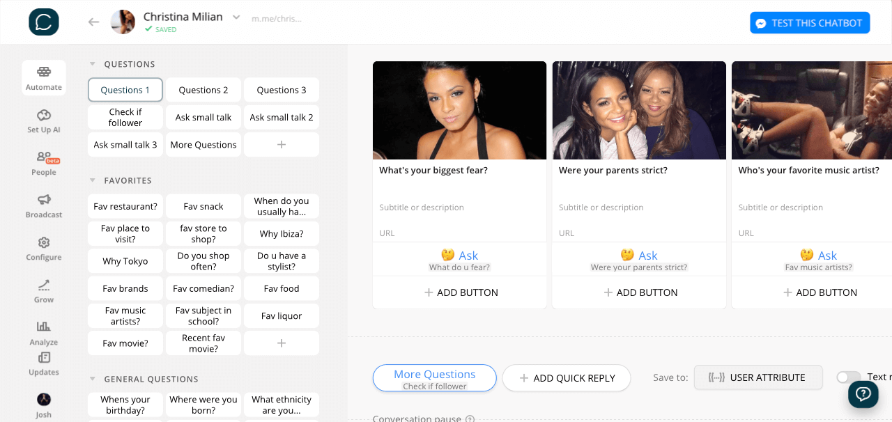 Chatfuel flow editor screenshot for Messenger Chatbot Like Christina Milian