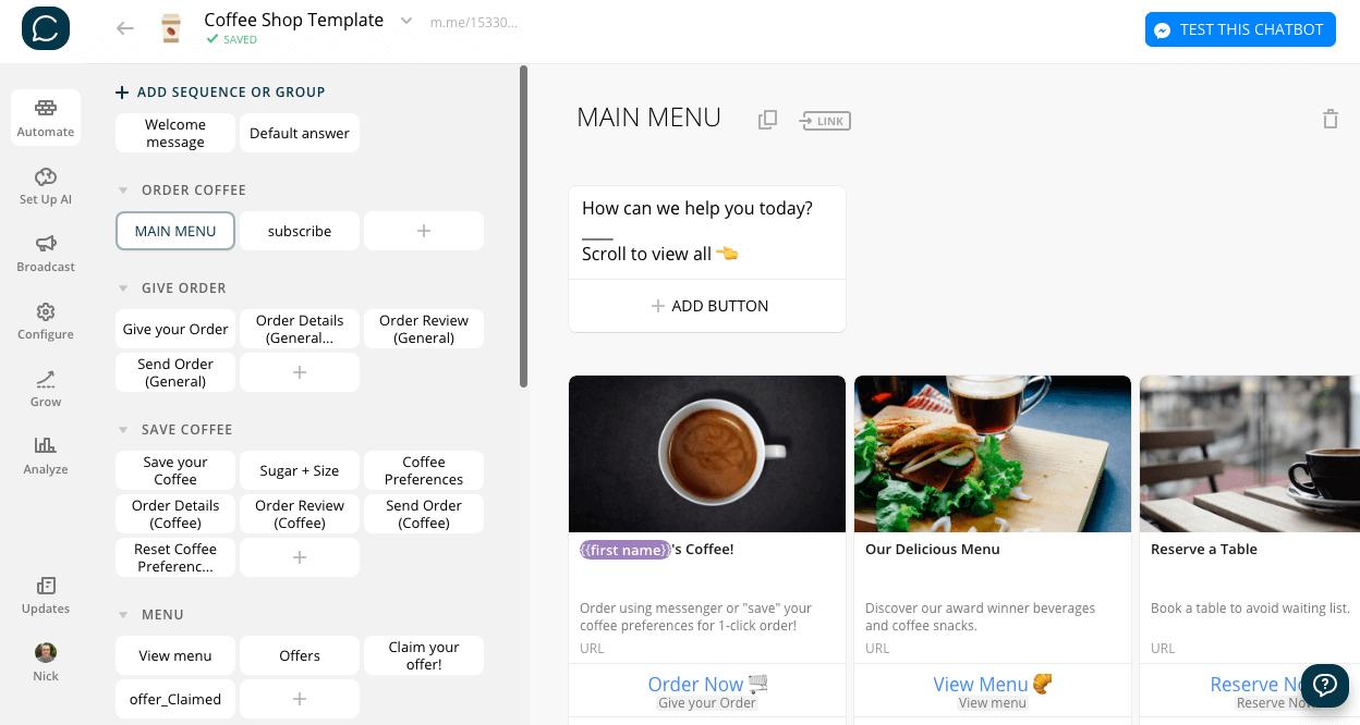Chatfuel flow editor screenshot for Coffee Shop Bot Template