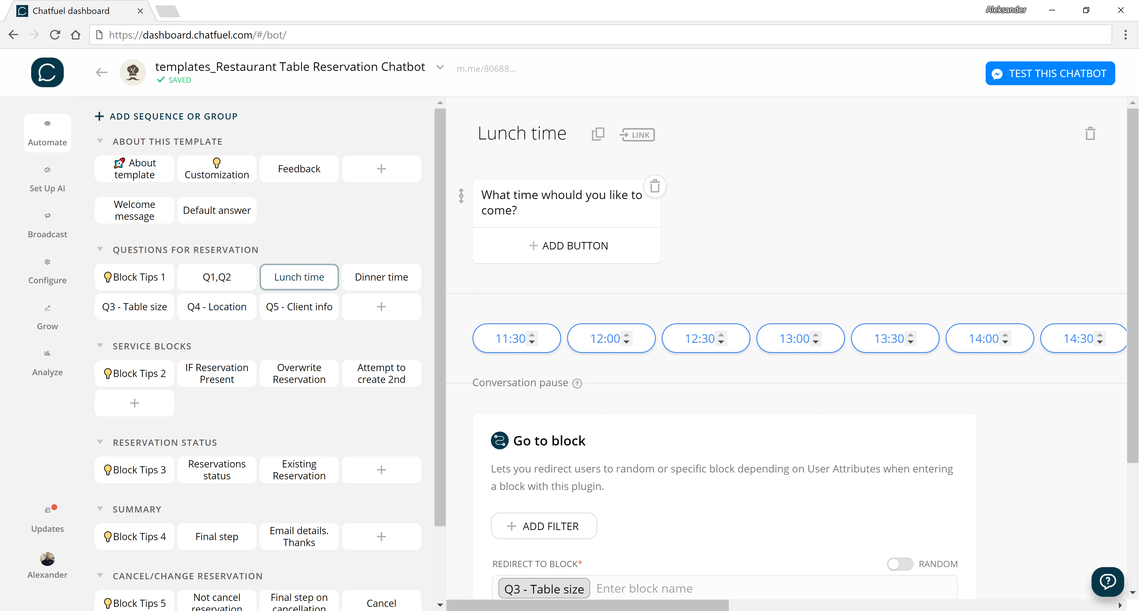 Chatfuel and ManyChat flow editor screenshot for Restaurant Table Reservation Bot Template for Messenger