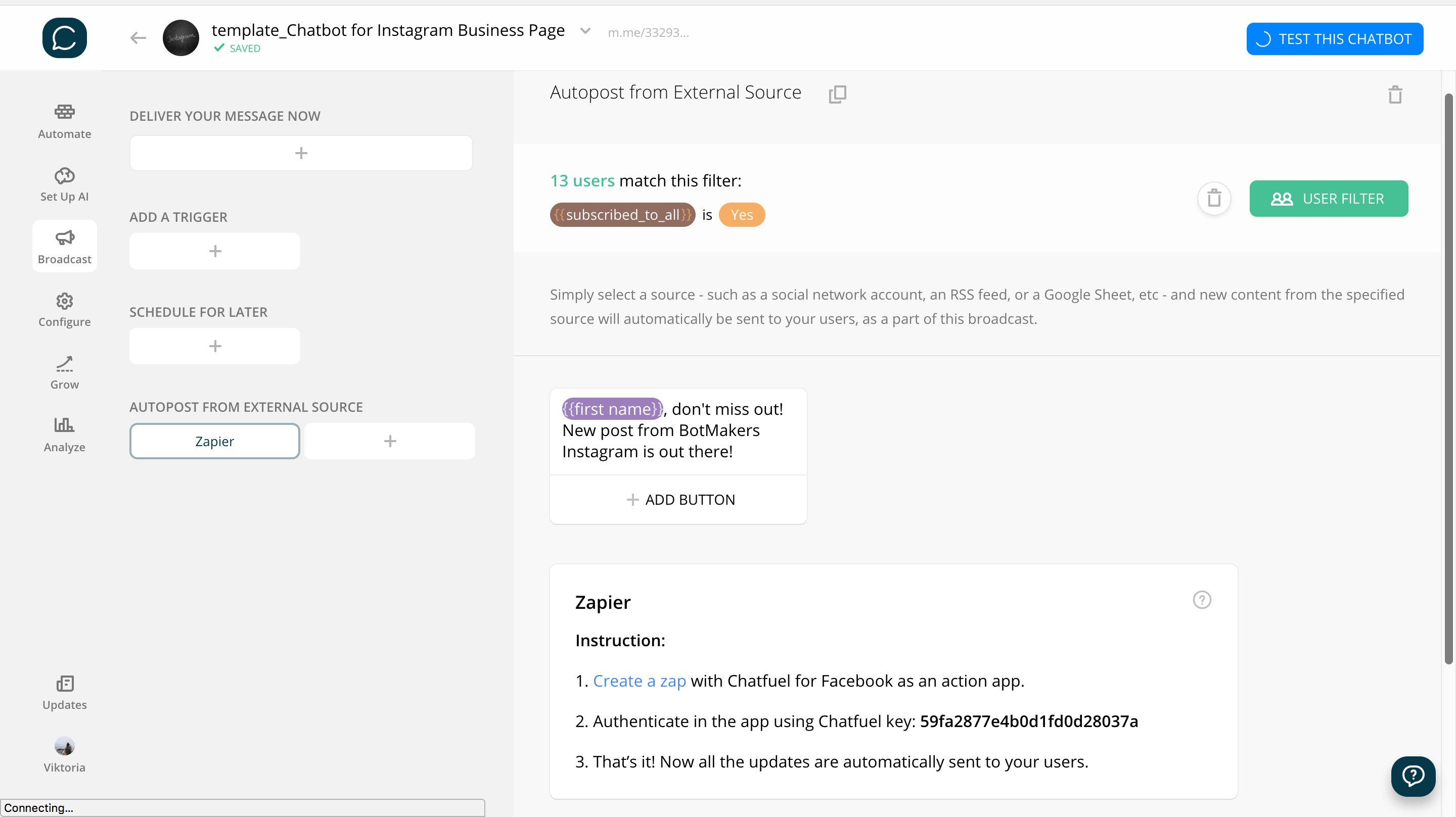 Chatfuel flow editor screenshot for Instagram Business Profile Bot Template for Messenger