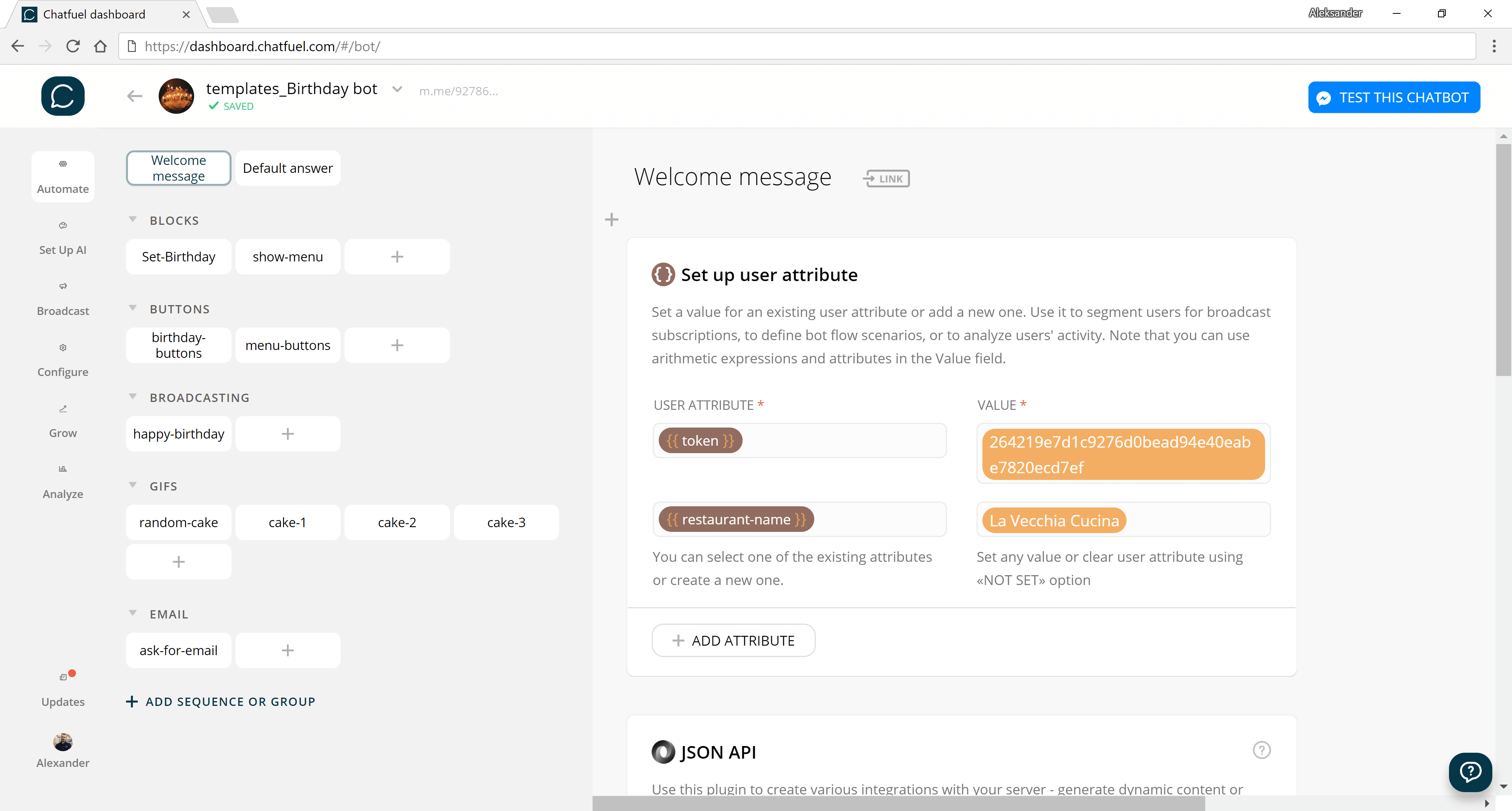 Chatfuel flow editor screenshot for Free Birthday Cake Chatbot for Restaurants