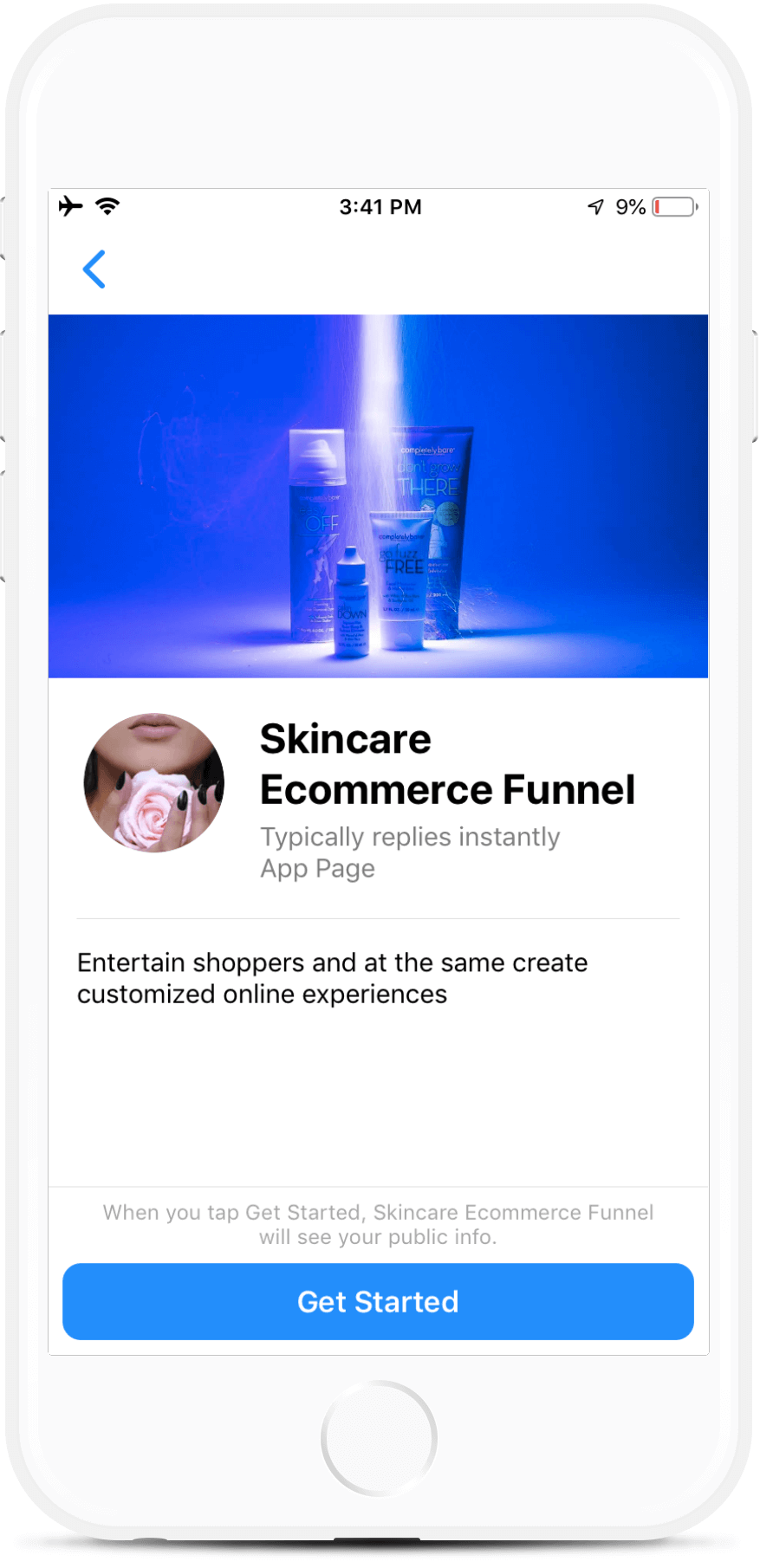 Skincare eCommerce Funnel for Facebook Messenger