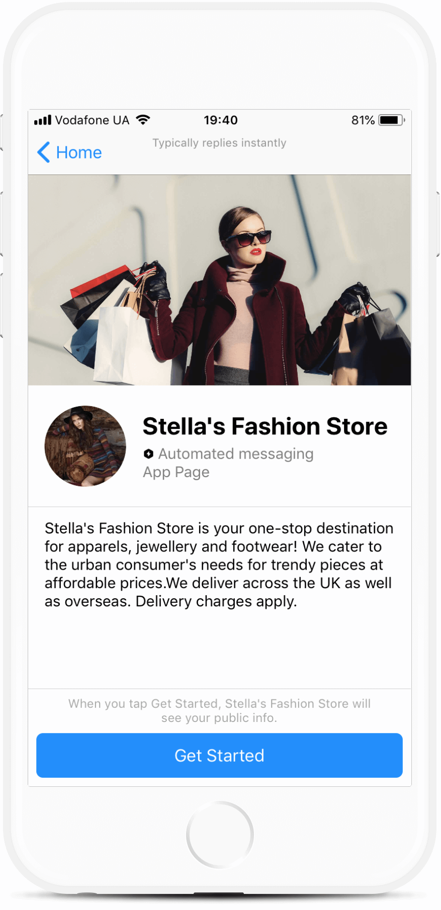 Stella's Fashion Store bot screenshot