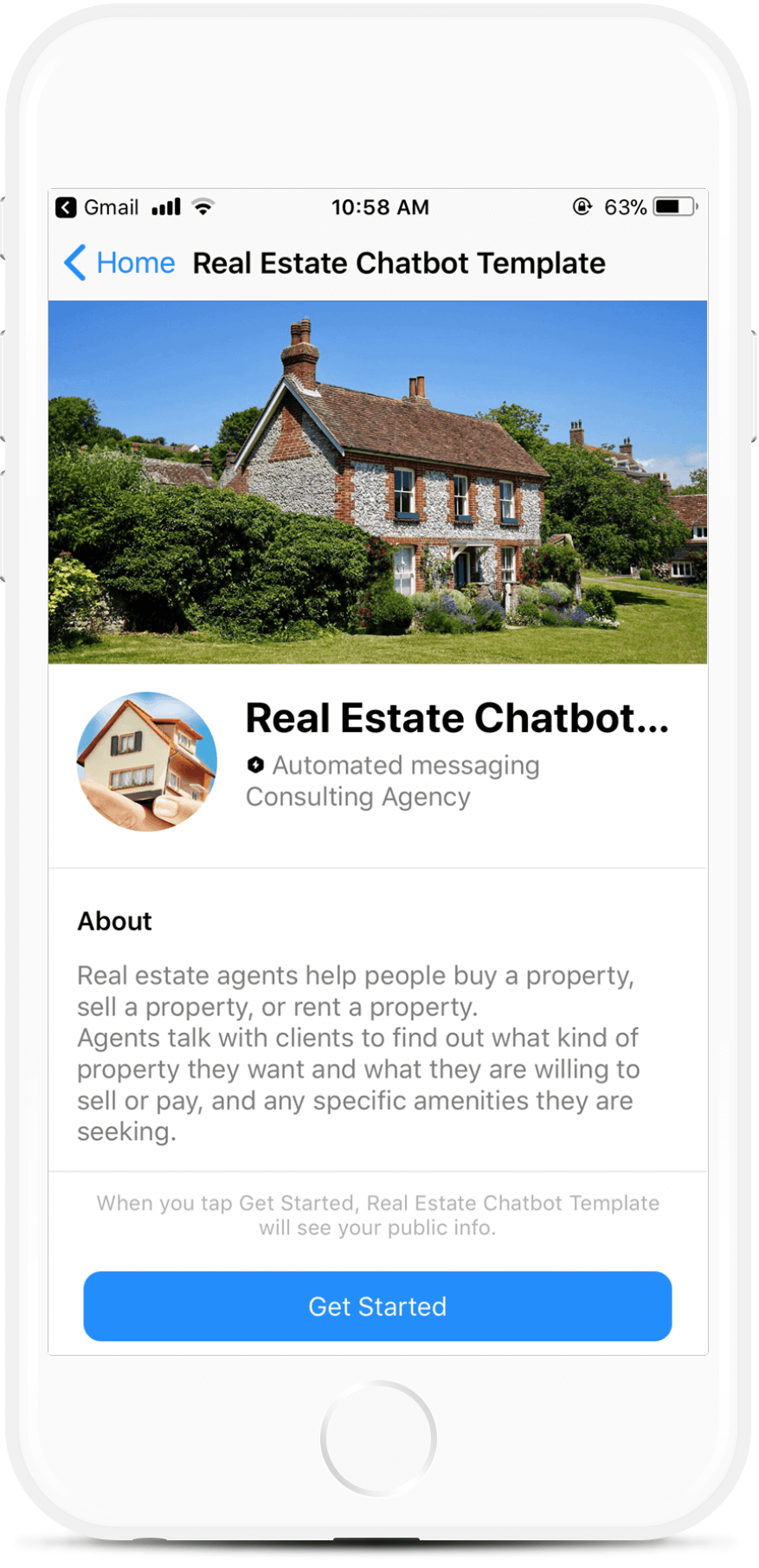 Real Estate Chatbot Template for Messenger