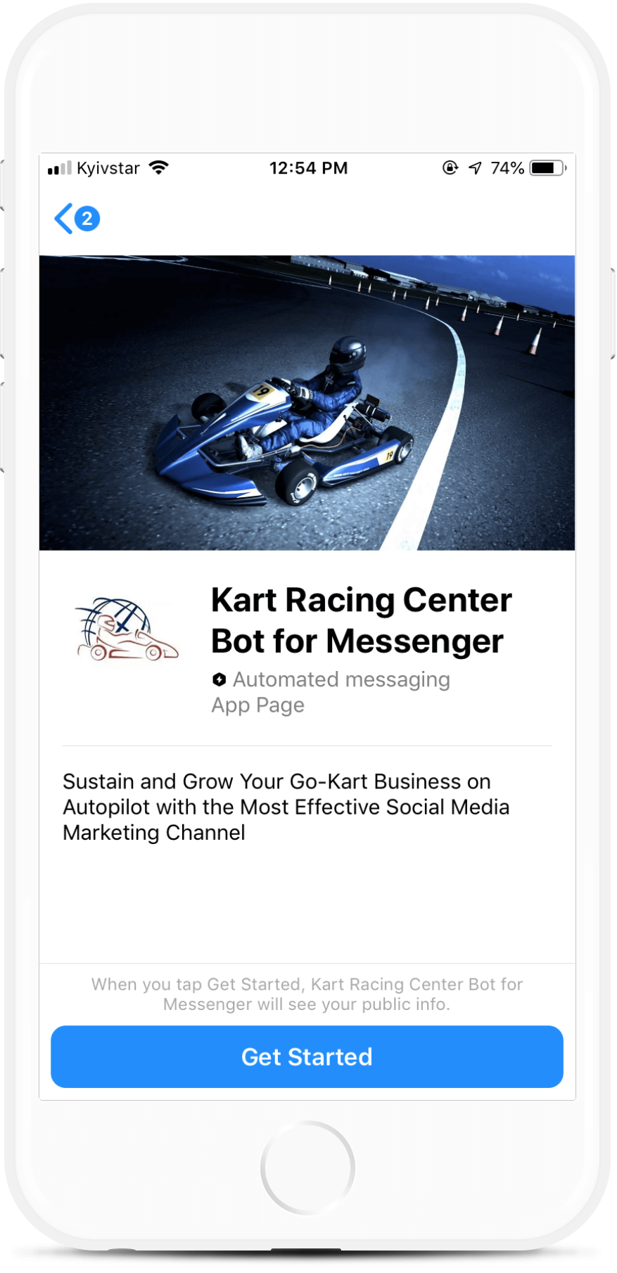 Kart Racing Center Bot for Messenger