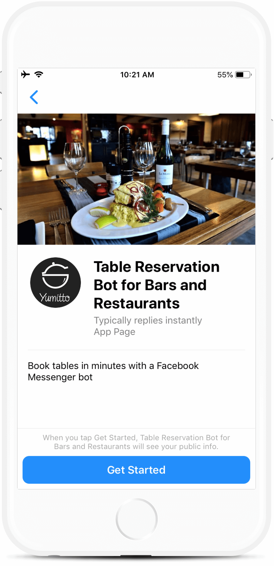 Restaurant table reservation  bot screenshot