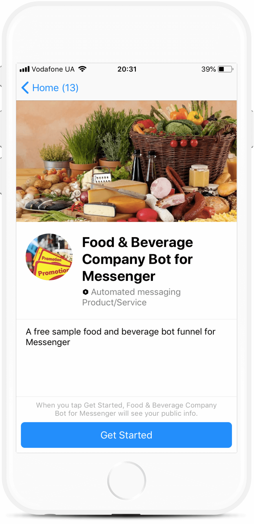 Food & Beverage Company Bot for Messenger