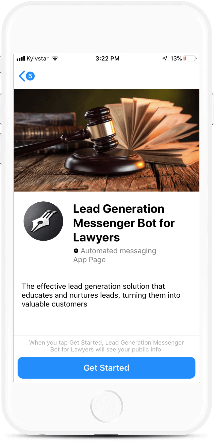 Lead Gen Lawyer Chatbot for Facebook Messenger