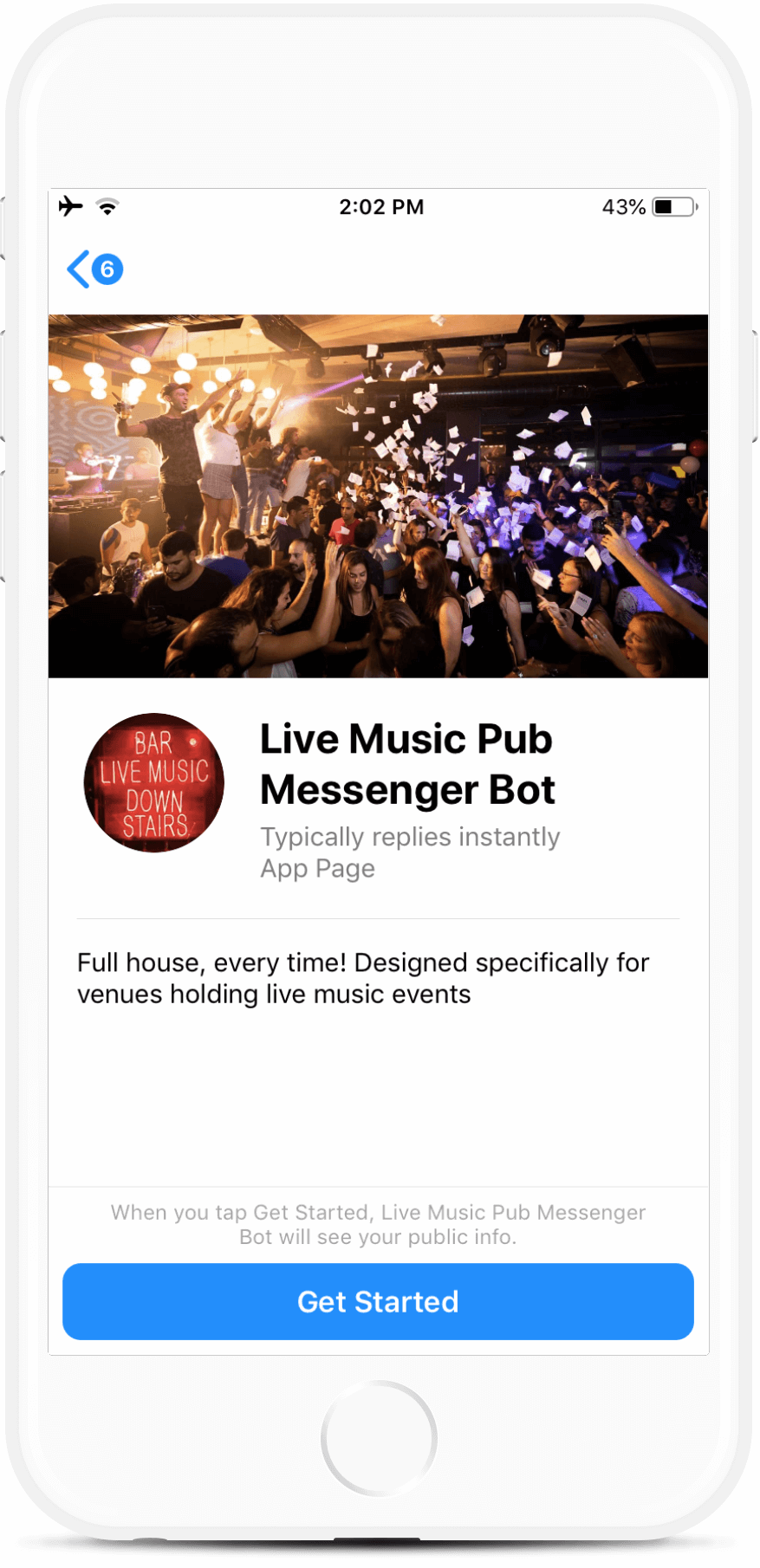 Live Music Pub and Bar Bot for Messenger