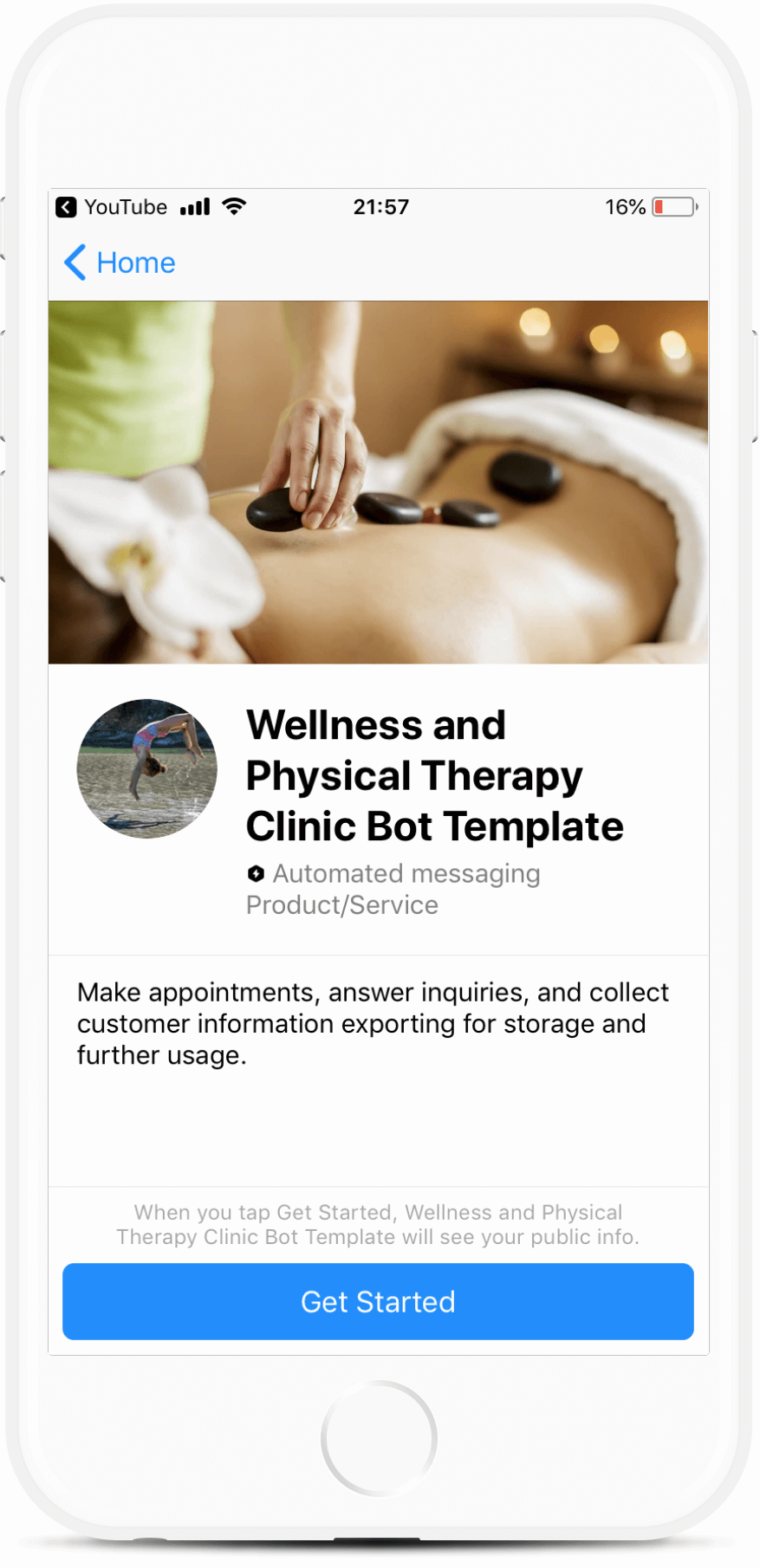 Wellness and Physical Therapy Clinic Bot Template Messenger bot screenshot