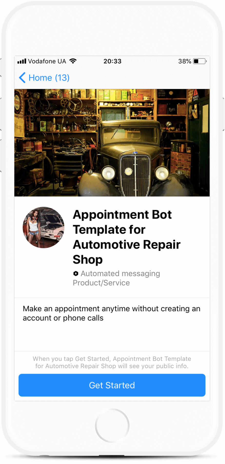 Appointment Bot Template for Automotive Repair Shop bot screenshot